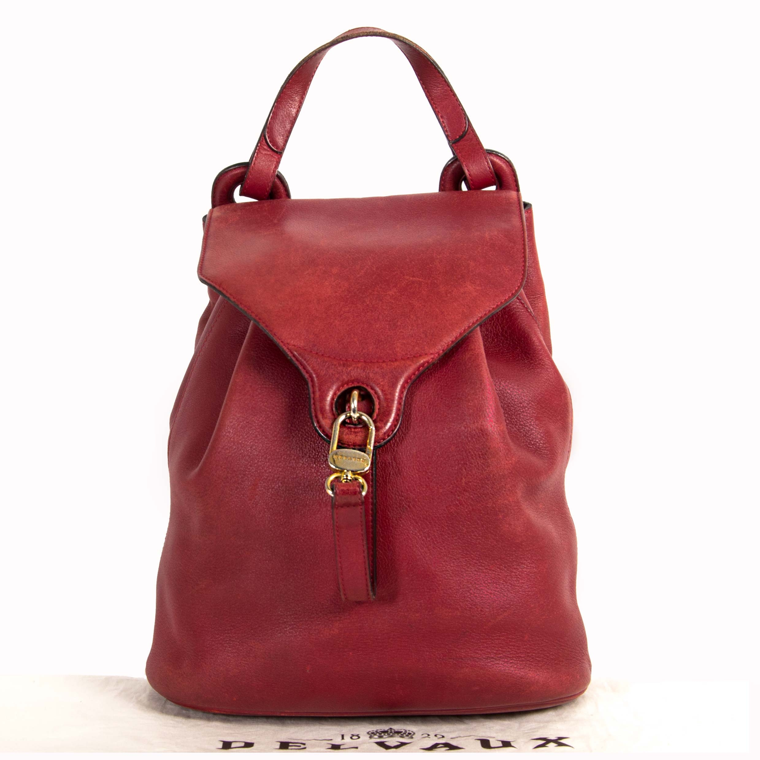Delvaux Red Backpack now for sale at labellov vintage fashion webshop belgium