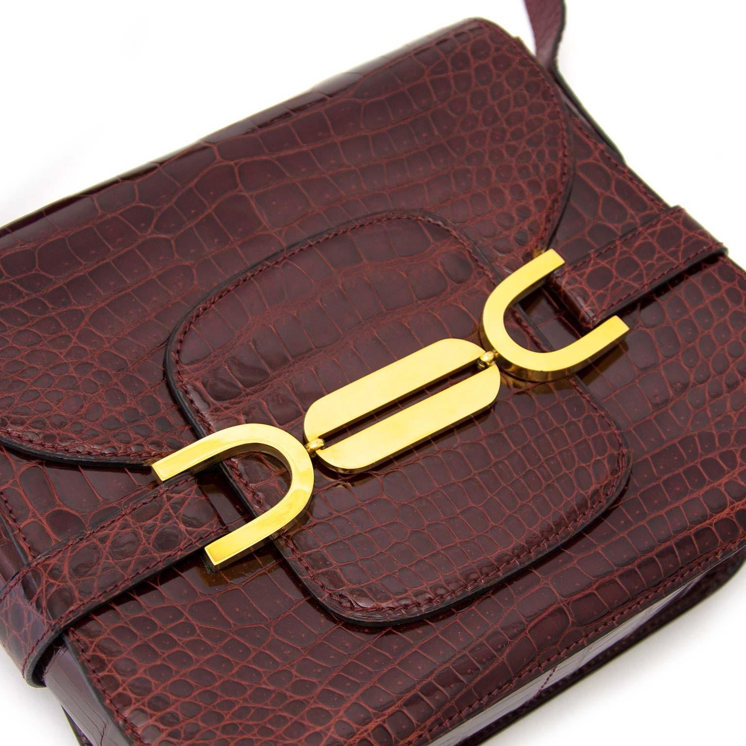 shop safe and secure online at labellov.com Delvaux Vintage Bordeaux Croco Leather Bag