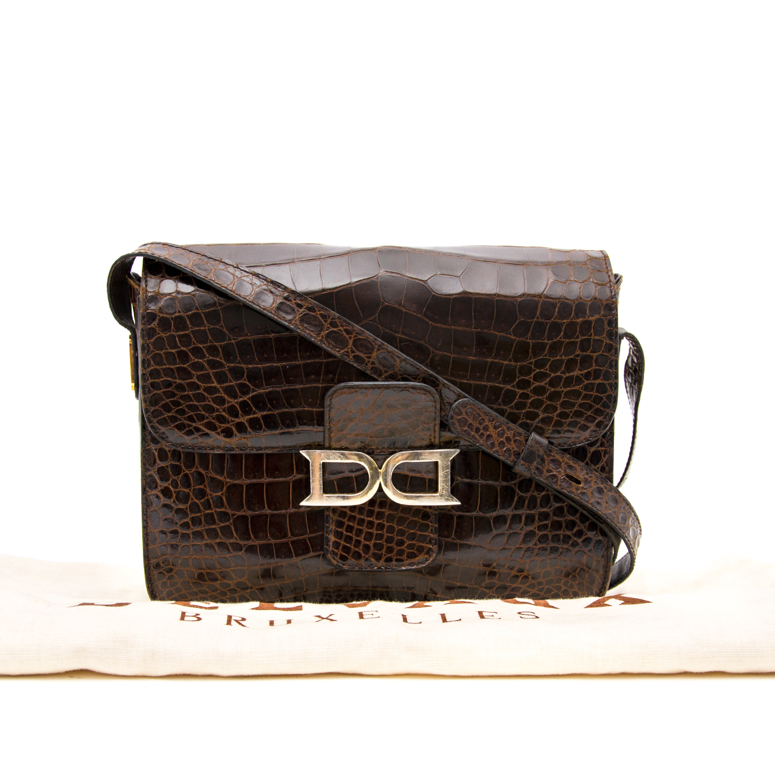 A very rare and unique Delvaux Brown Croco Bourgogne Shoulder Bag available online at Labellov