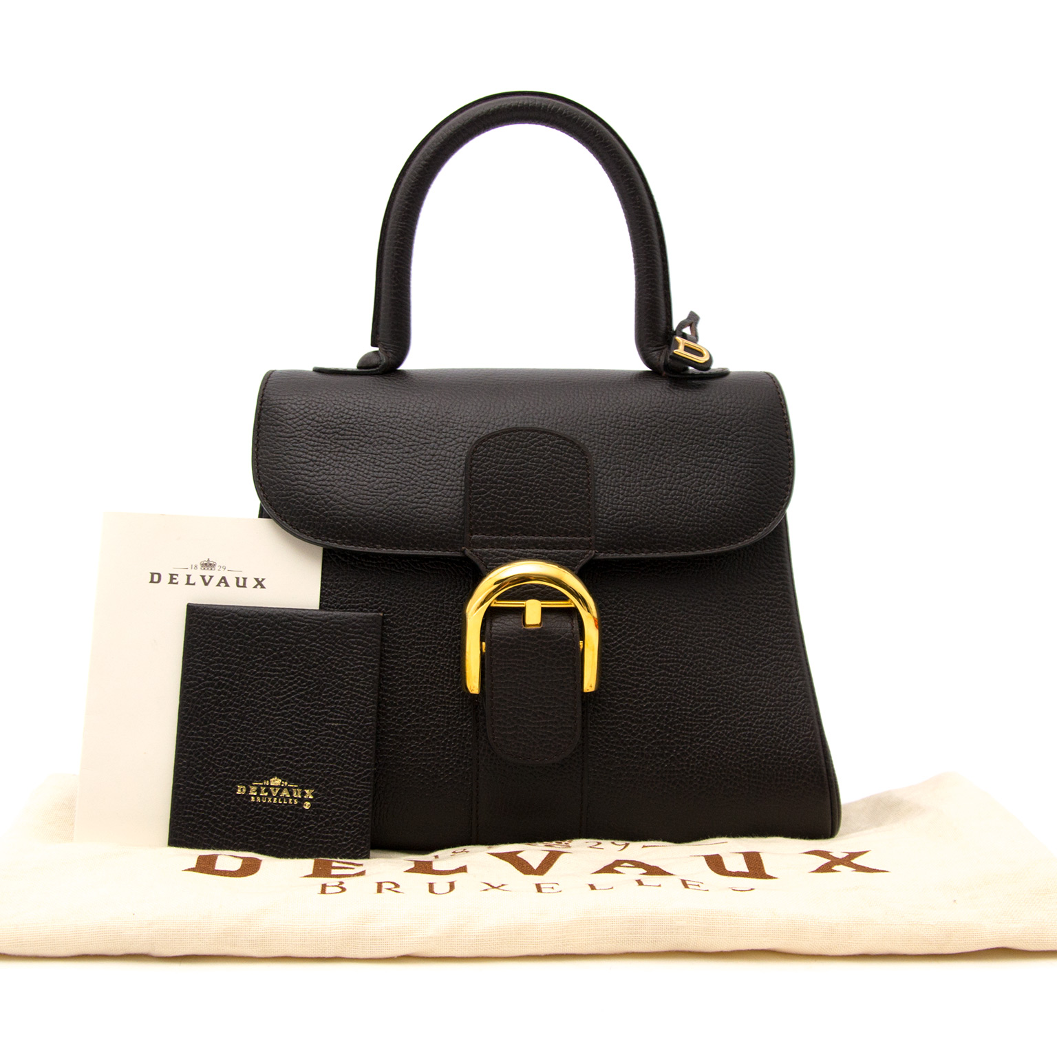 shop safe online at the best price secondhand Delvaux Dark Brown Brillant PM