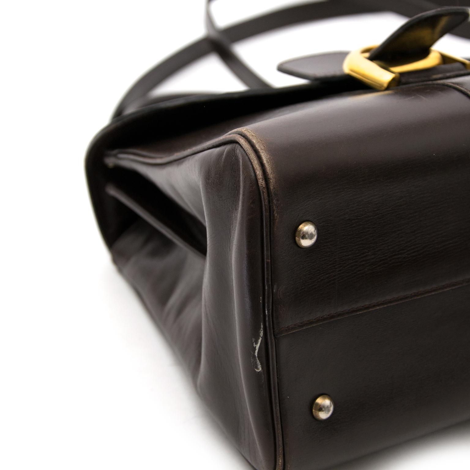 shop safe online seconde main Delvaux Brown Brillant MM + Strap  pour le meilleur prix