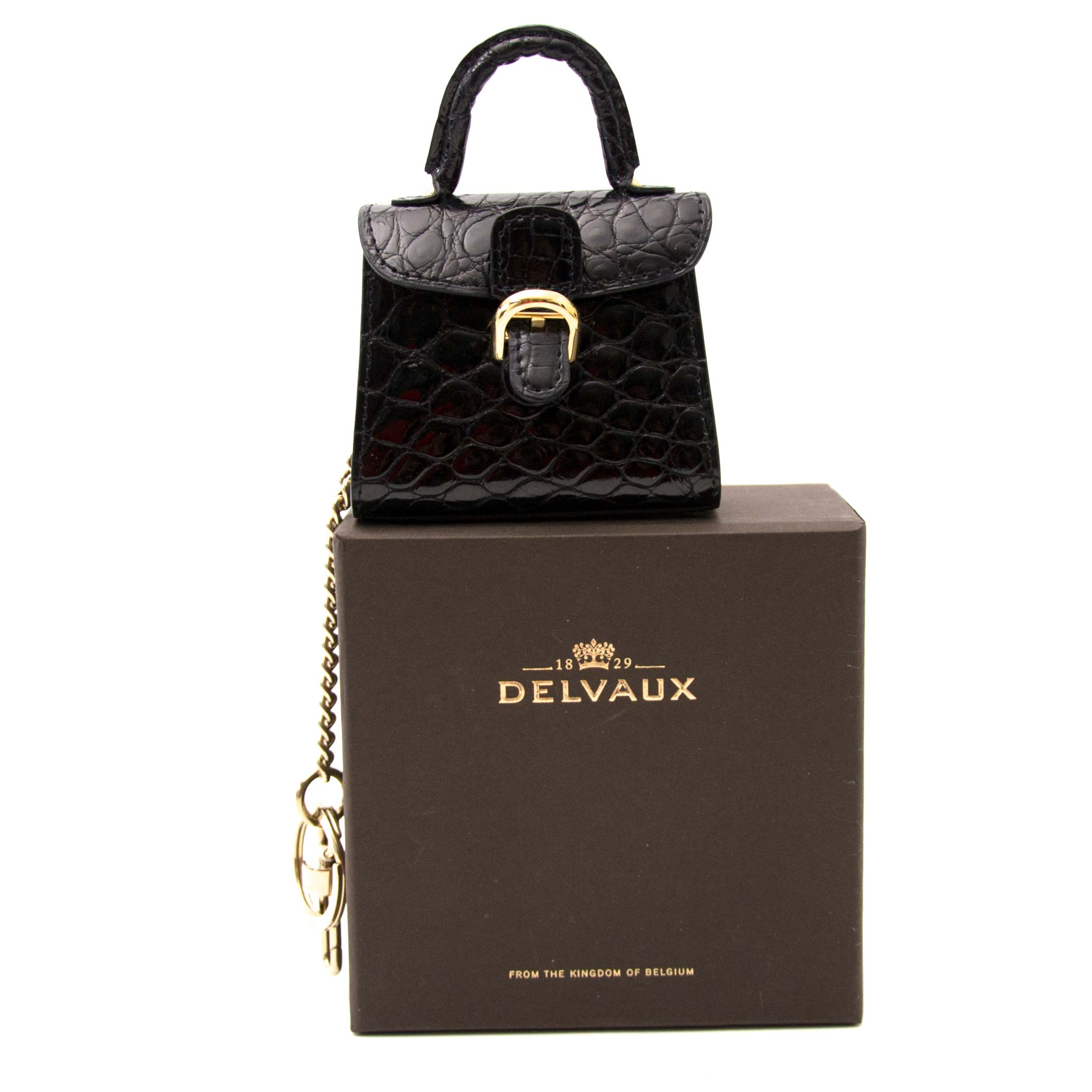 Buy now online your secondhand Delvaux Brillant Black Croco Bag Charm on labellov.com