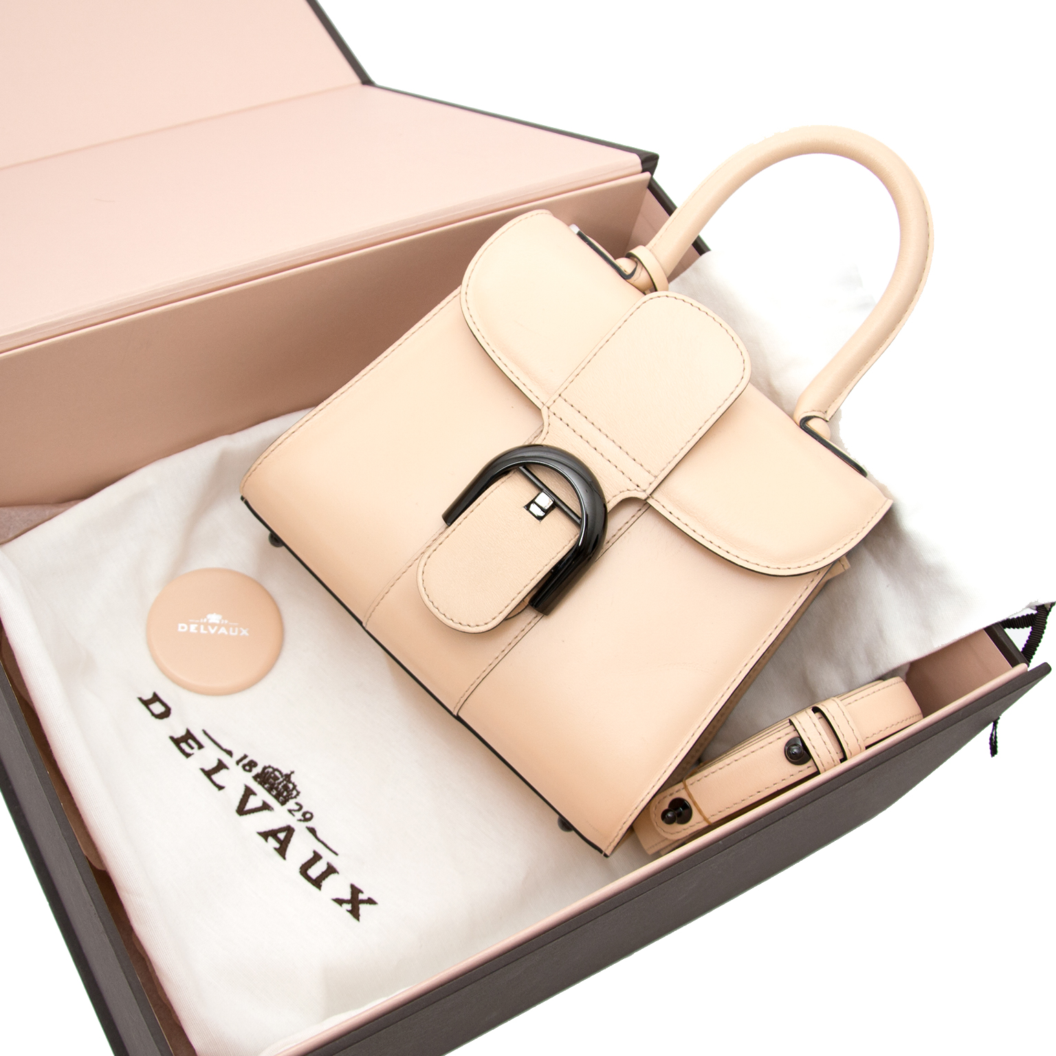 full set belgium know brand Delvaux Mini Brillant Poudré + STRAP worldwide shipping