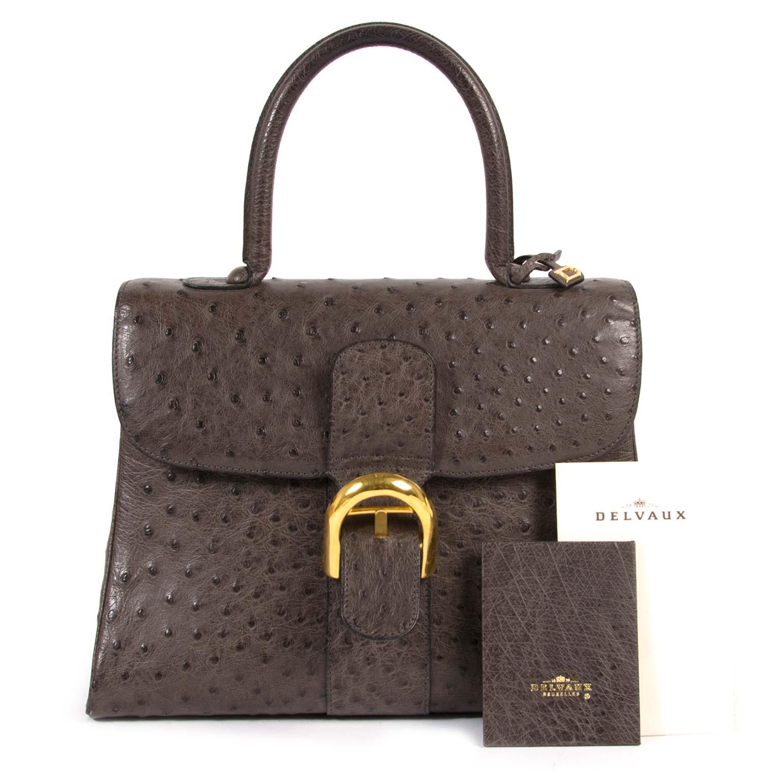 delvaux brillant ostrich MM palissandre bag now for sale at labellov vintage fashion webshop belgium