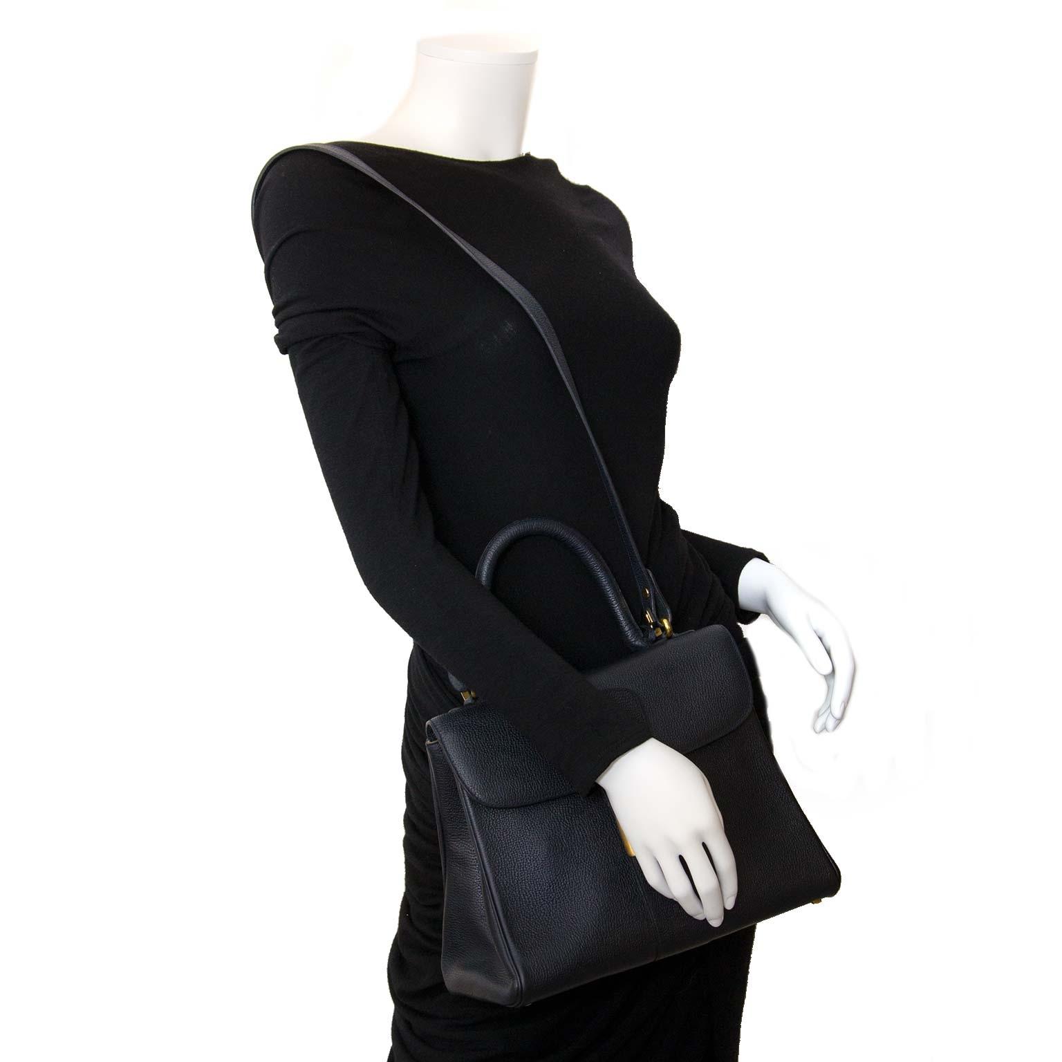 delvaux brillant blue mm bag + strap now for sale at labellov vintage fashion webshop belgium