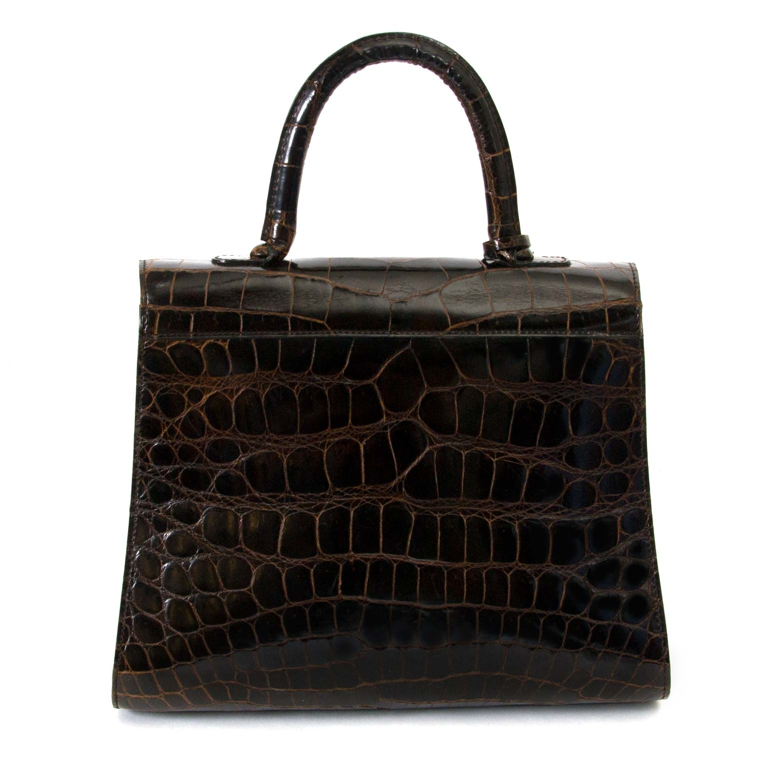Delvaux Brown Croco Brillant MM now for sale at labellov vintage fashion webshop belgium