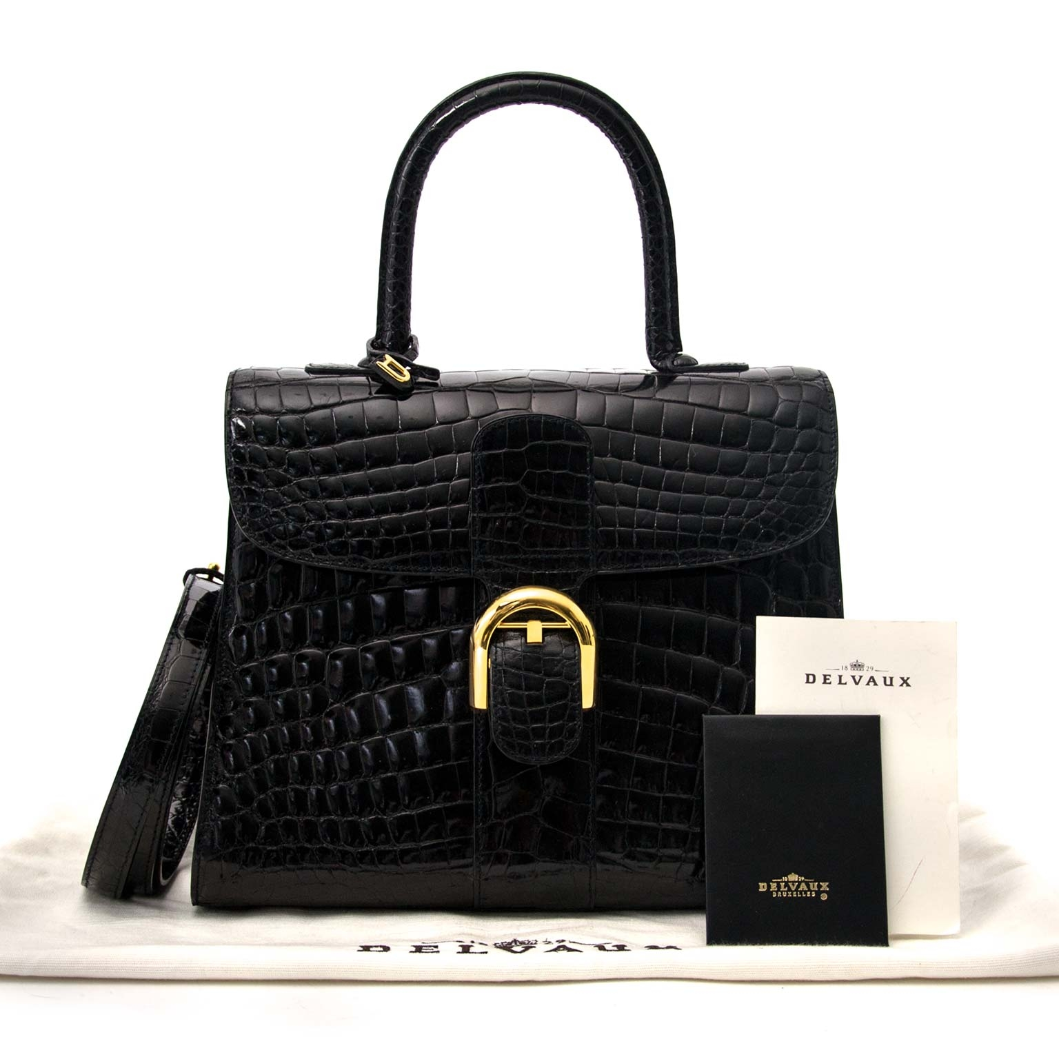 shop safe and secure online at labellov.com Delvaux Brillant MM Crocodile black with golden hardware + strap