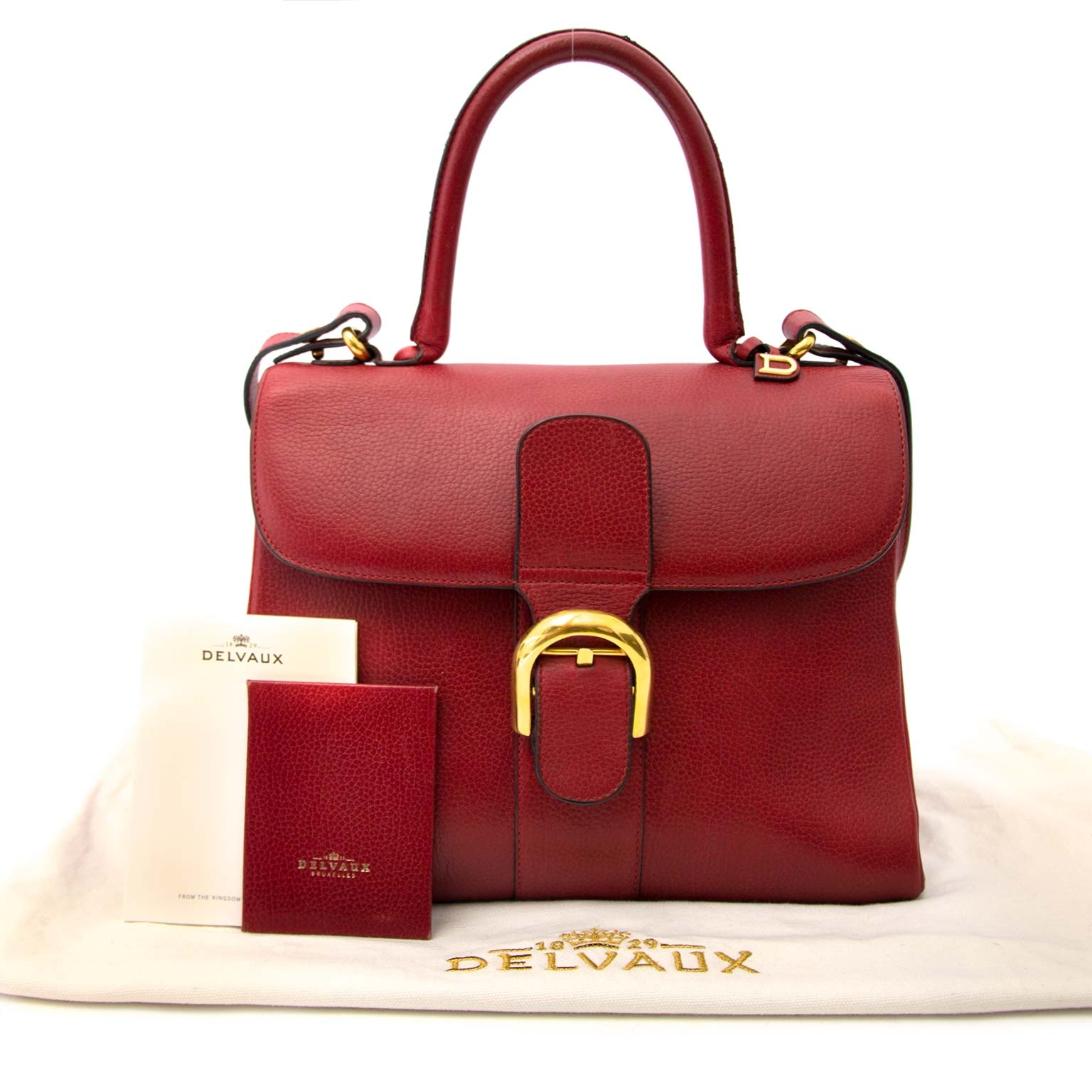 worldwide shipping Delvaux Red Brillant MM + Strap