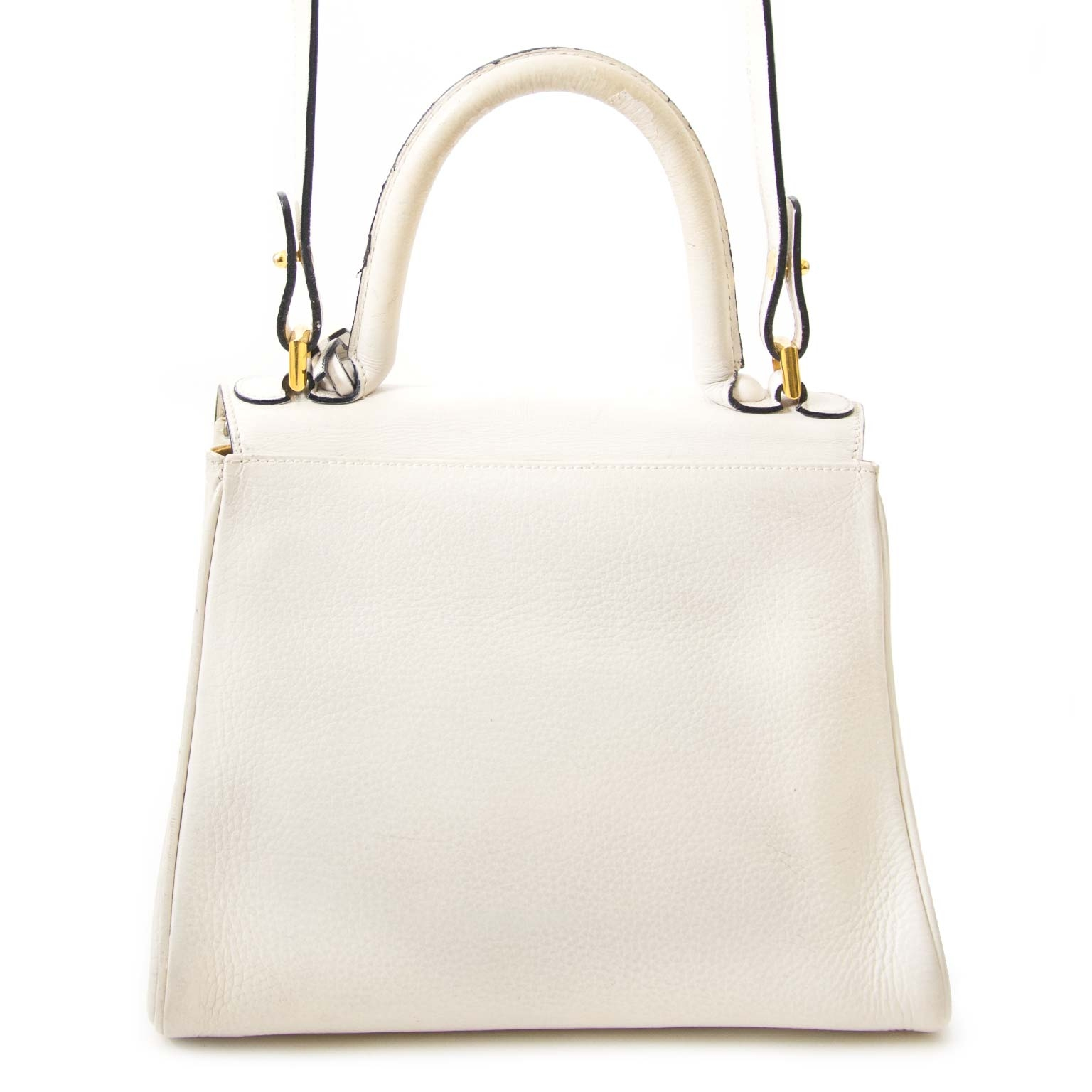 authentic Delvaux Brillant White PM Bag + Strap for sale at labellov