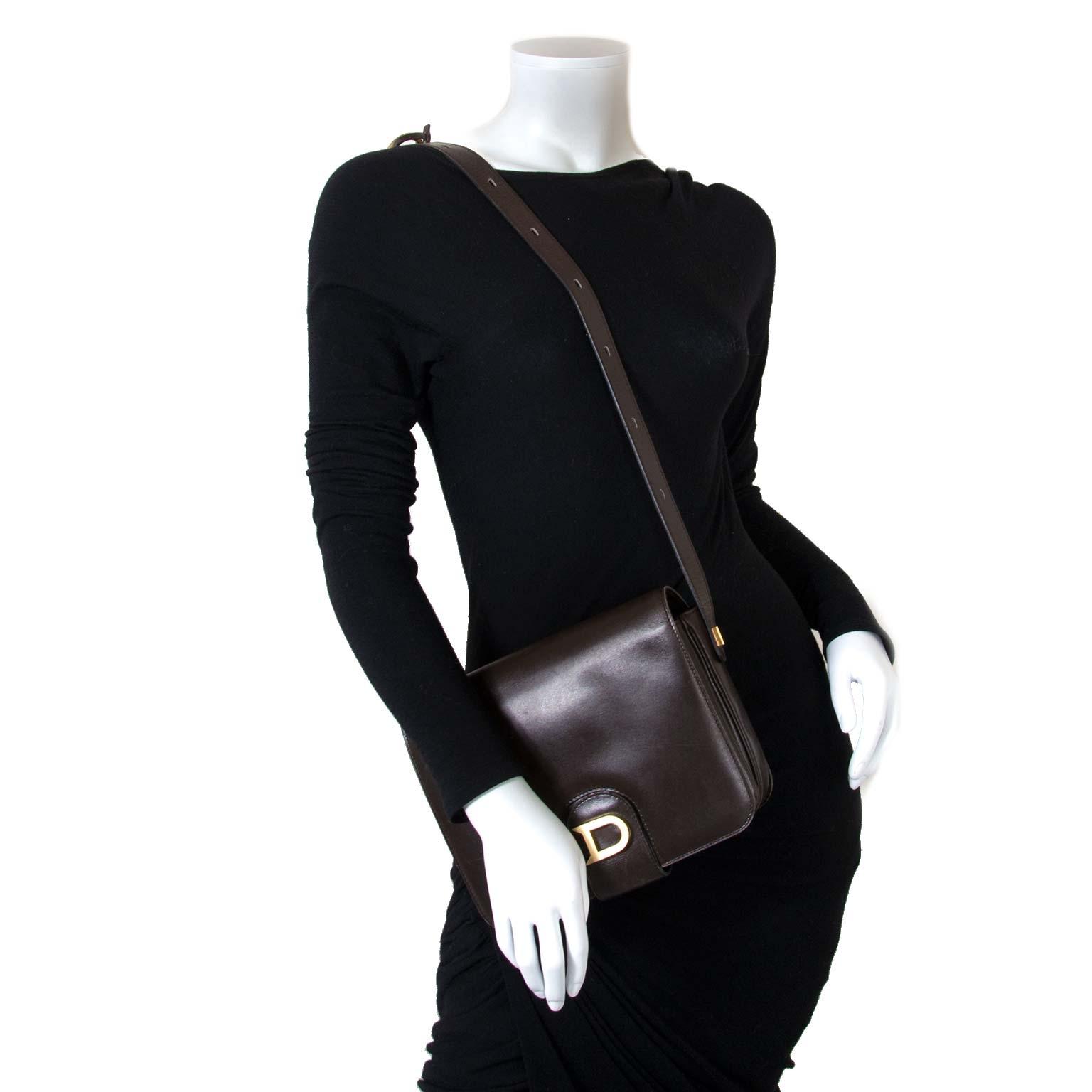 Delvaux Brown 'D' Crossbody Bag now for sale at labellov vintage fashion webshop belgium