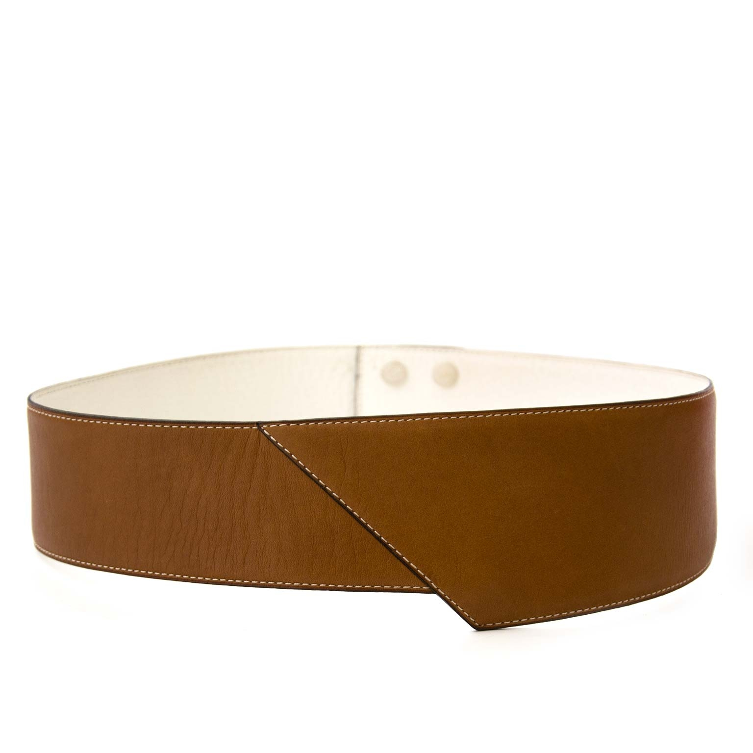 buy secondhand Delvaux Reversible Camel-White Belt at labellov for a good price