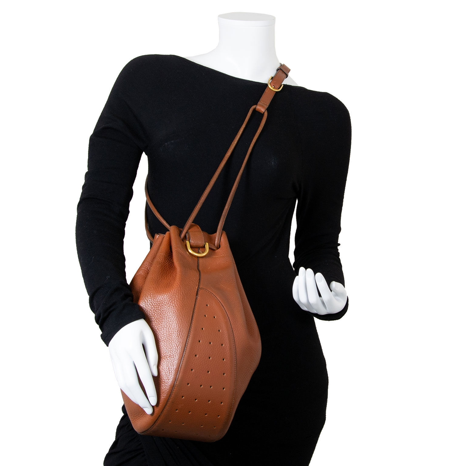 delvaux brown leather drawstring bag now for sale at labellov vintage fashion webshop belgium