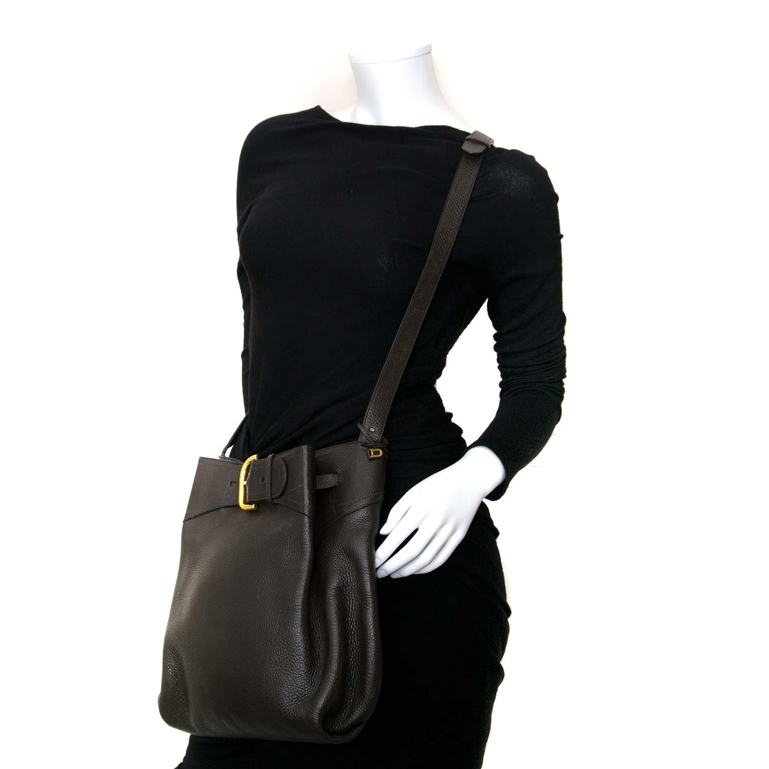 delvaux brown leather shoulder bag now for sale at labellov vintage fashion webshop belgium