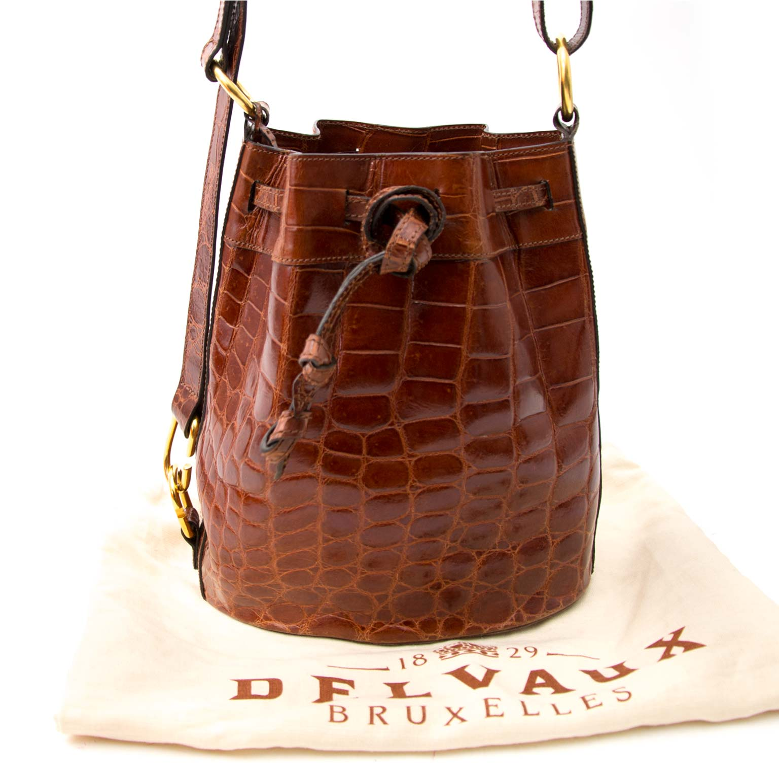 Delvaux Honey Croco Bucket Bag shop safe online at the best price