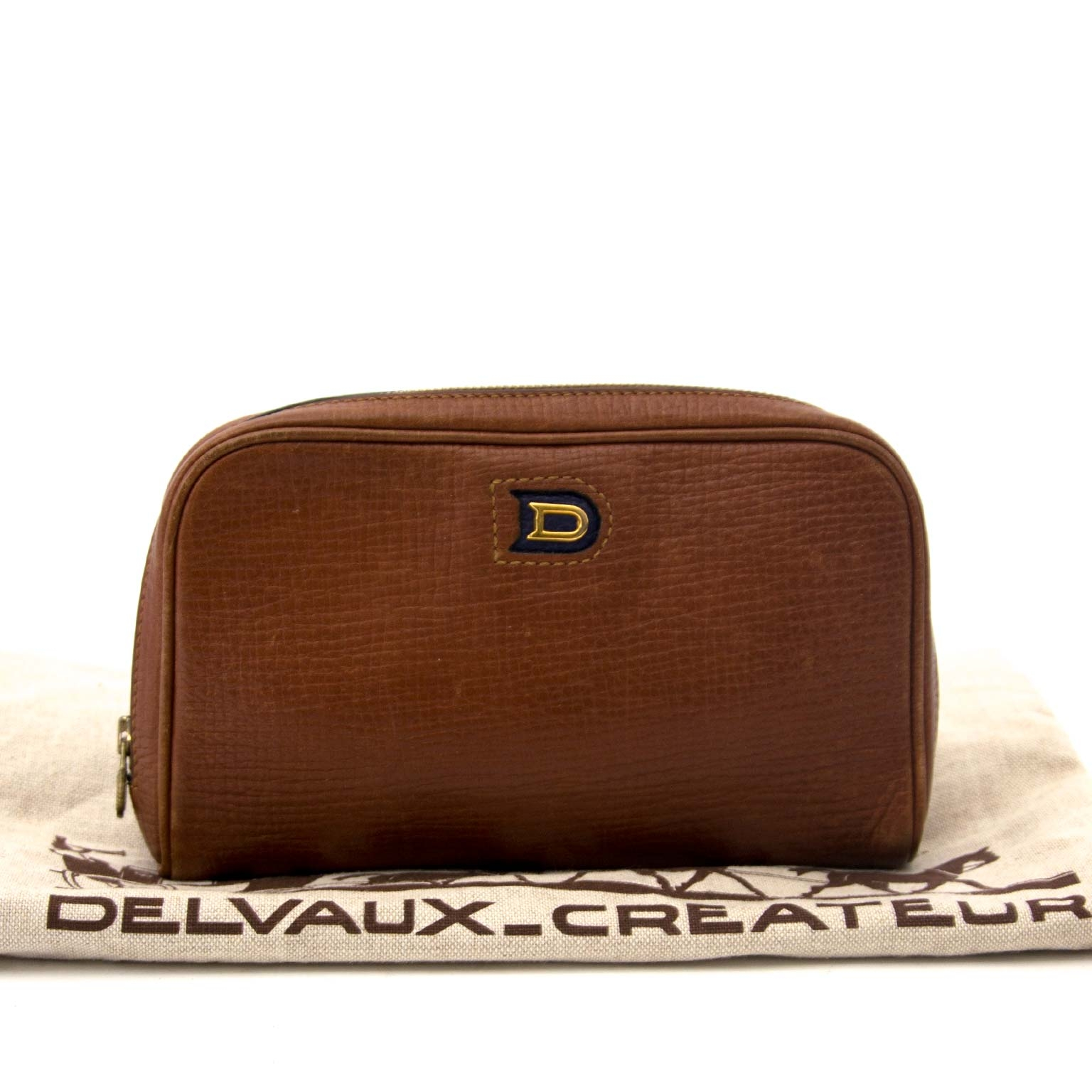 Delvaux Cognac Textured Leather Zip Pochette for sale online
