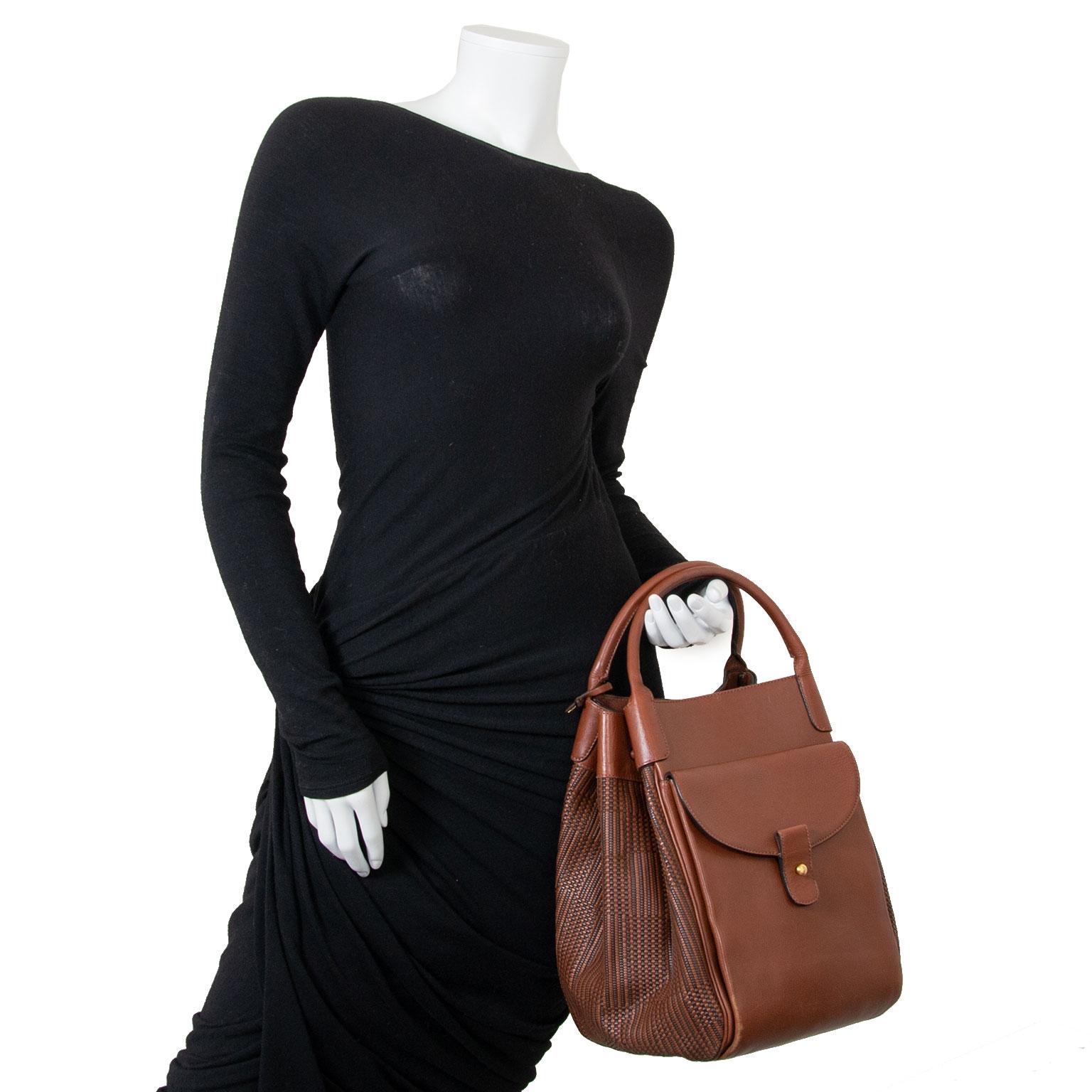delvaux brown toile de cuir corail gm bag now for sale at labellov vintage fashion webshop belgium