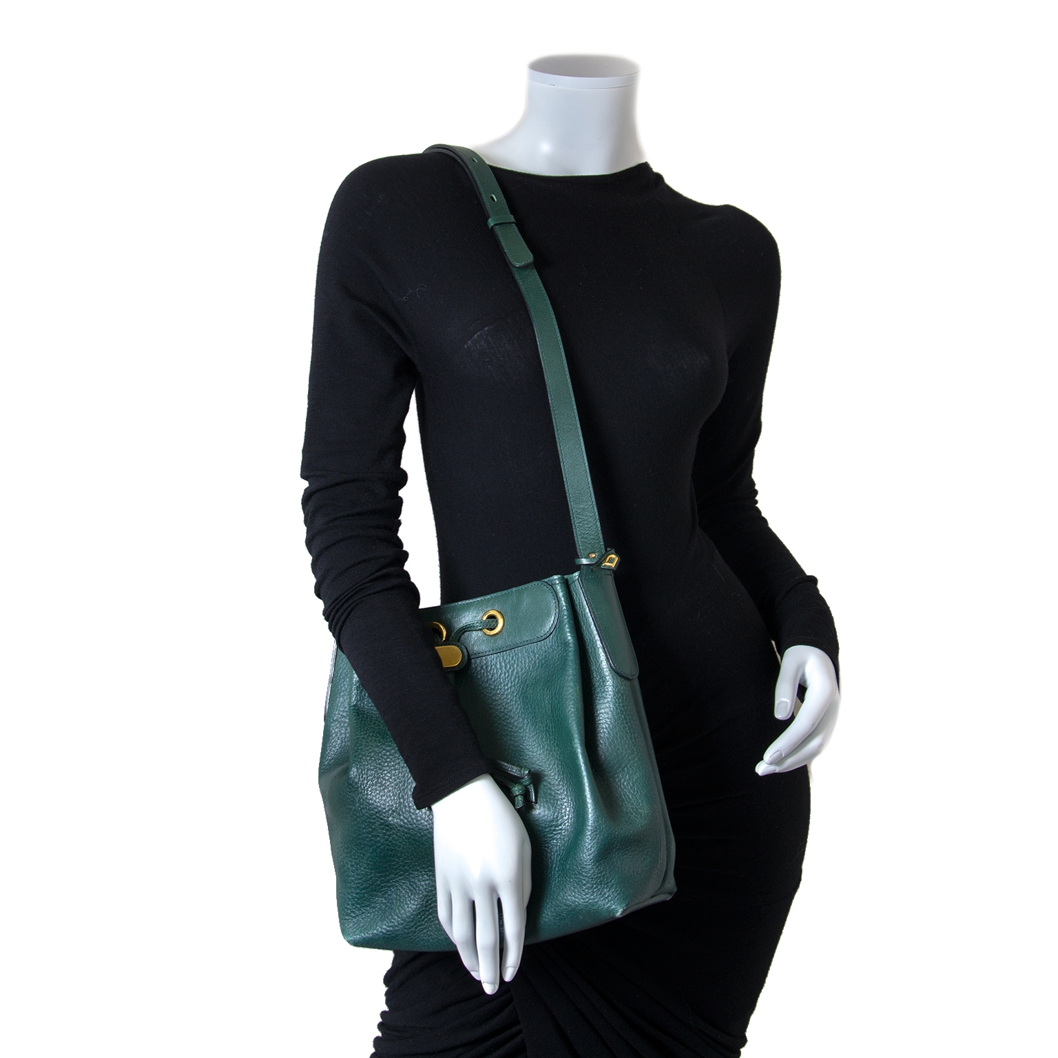 Delvaux Green Leather Bucket Bag