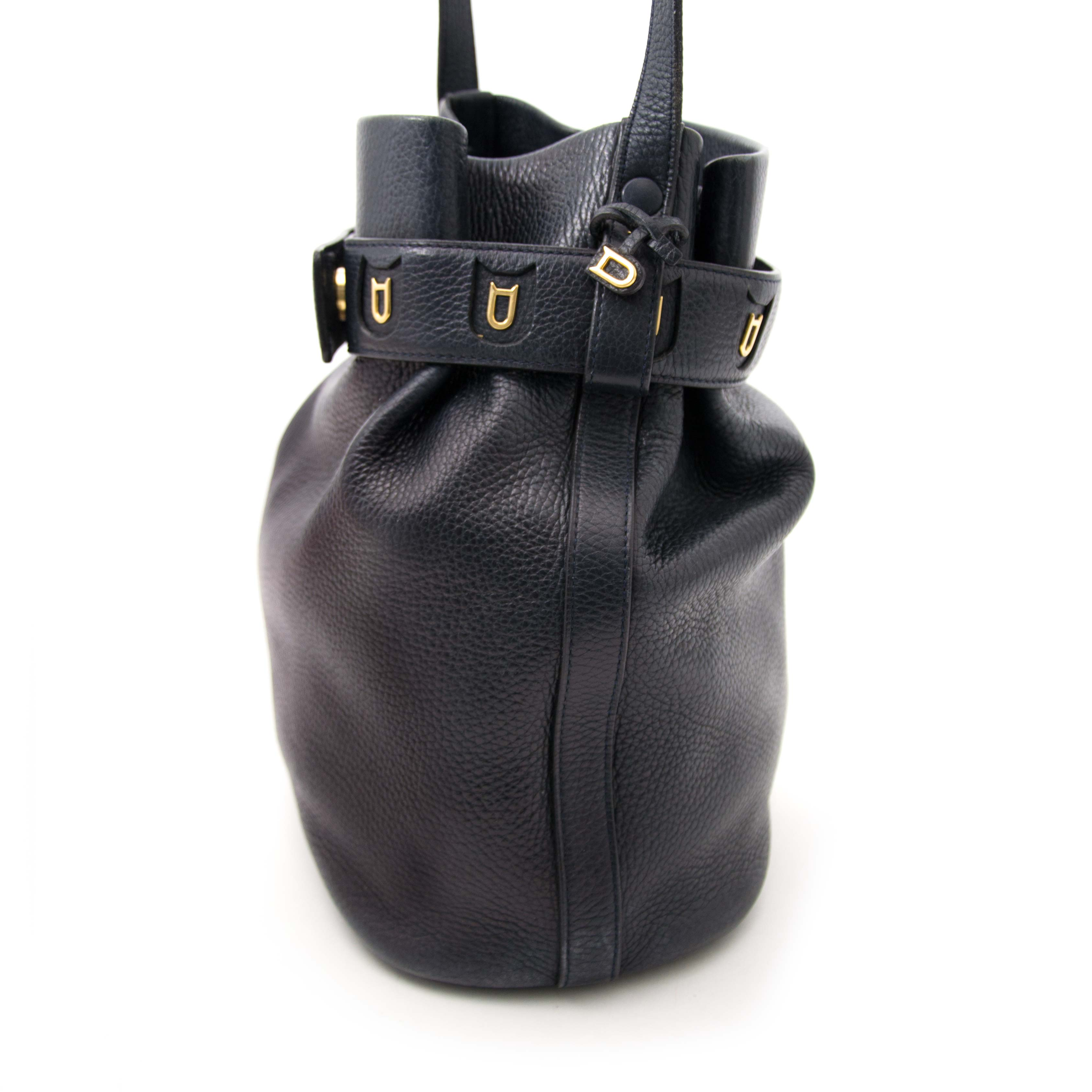 Secondhand Delvaux blue bucket bag for sale
