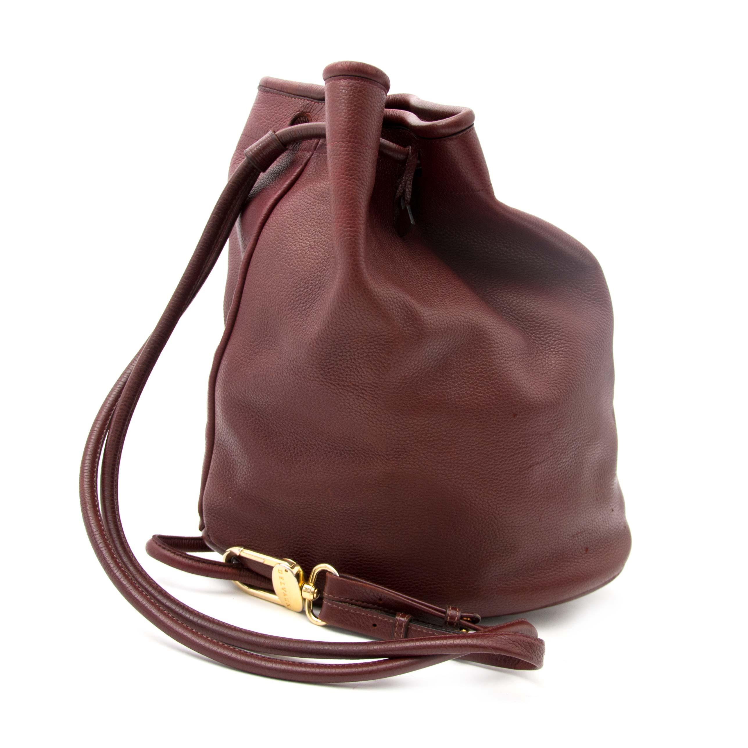 Koop en verkoop uw Delvaux Bordeaux Drawstring Leather Bucket Bag