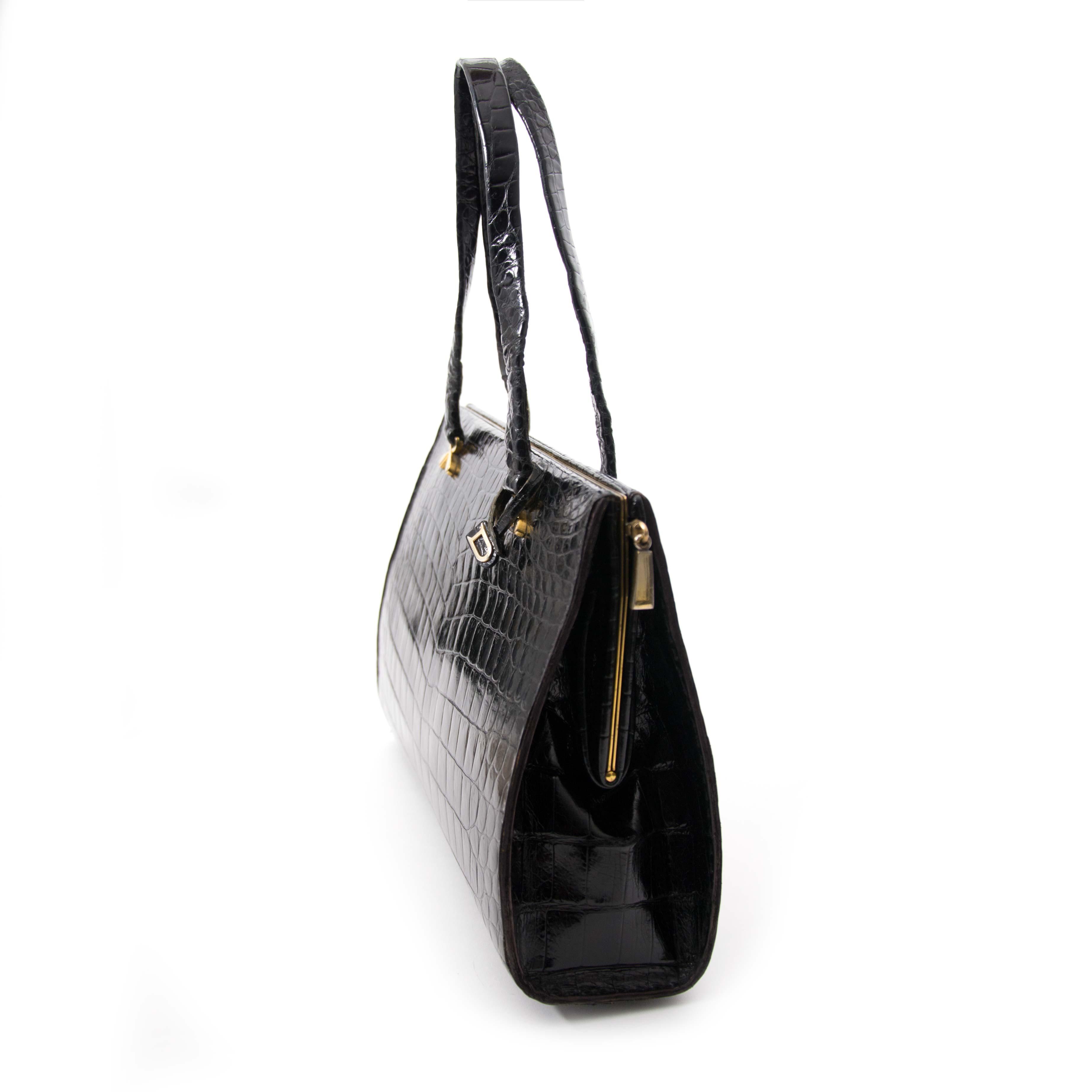 shop safe online your secondhand Delvaux Croco Black Evening Bag