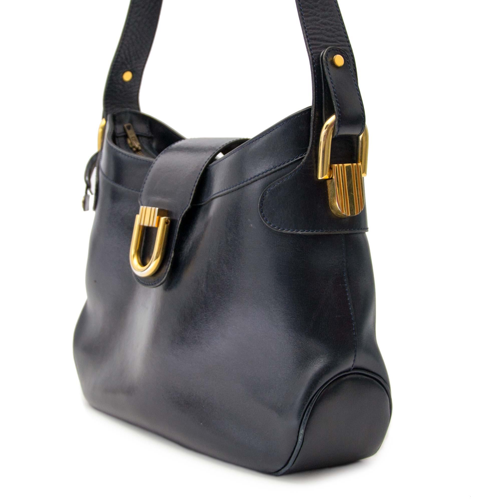 3556ec6adba ... Delvaux Vintage Blue Leather Shoulder Bag Buy authentic designer  Delvaux secondhand bags at Labellov at the