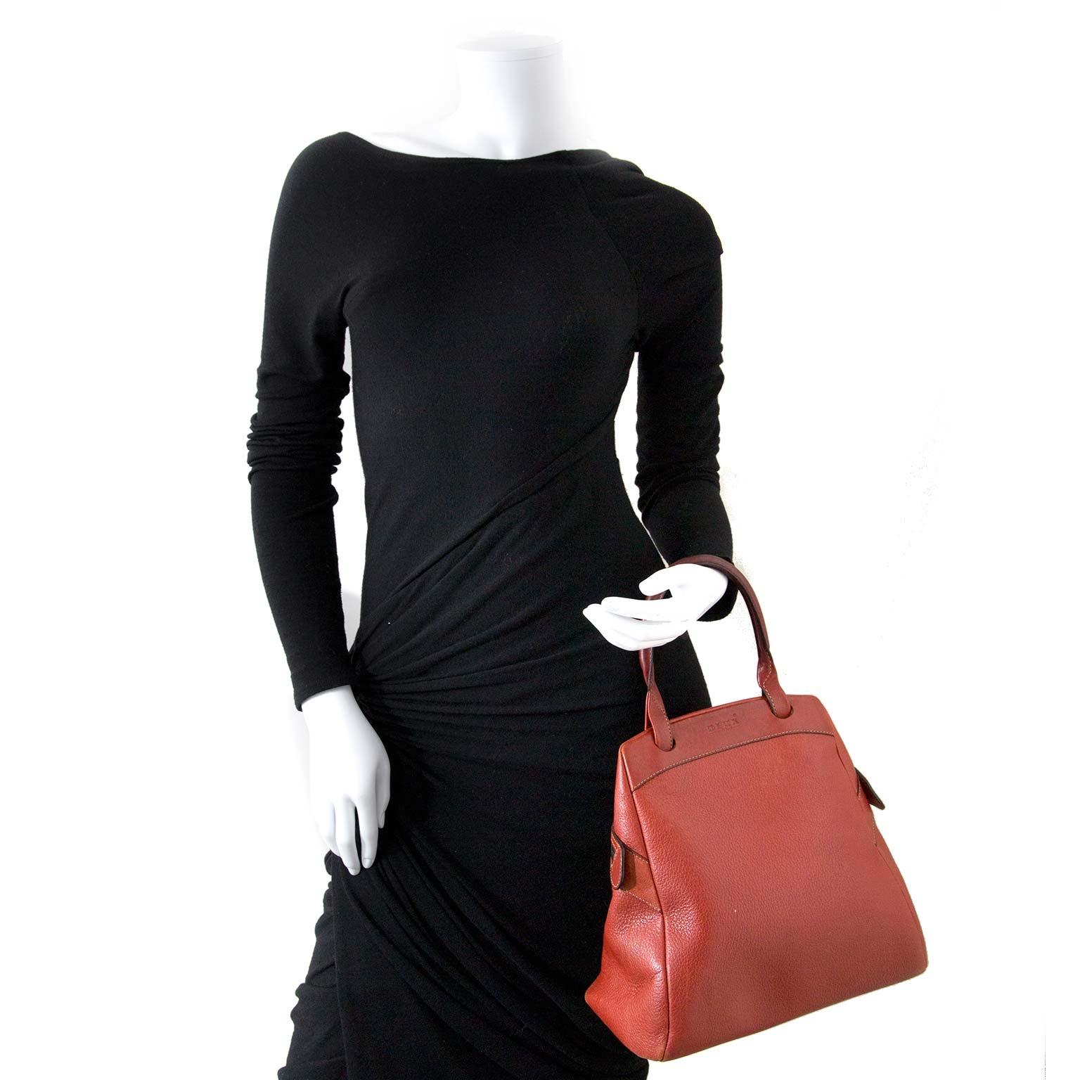 Deux De Delvaux Red Leather Top Handle Bag now for sale at labellov vintage fashion webshop belgium