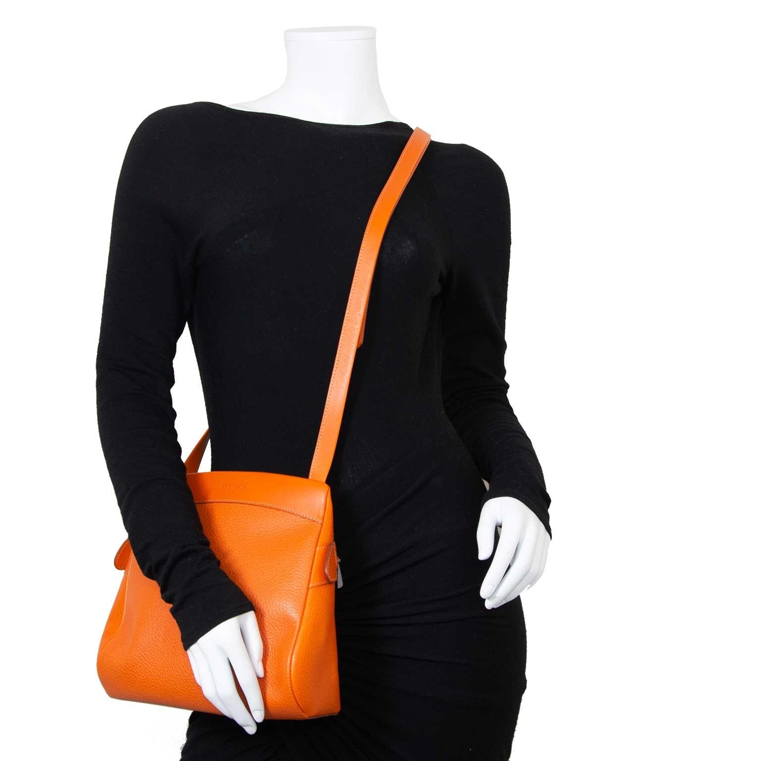 Deux De Delvaux Orange Tangerine Quarante-Neuf Bag now for sale at labellov vintage fashion webshop belgium
