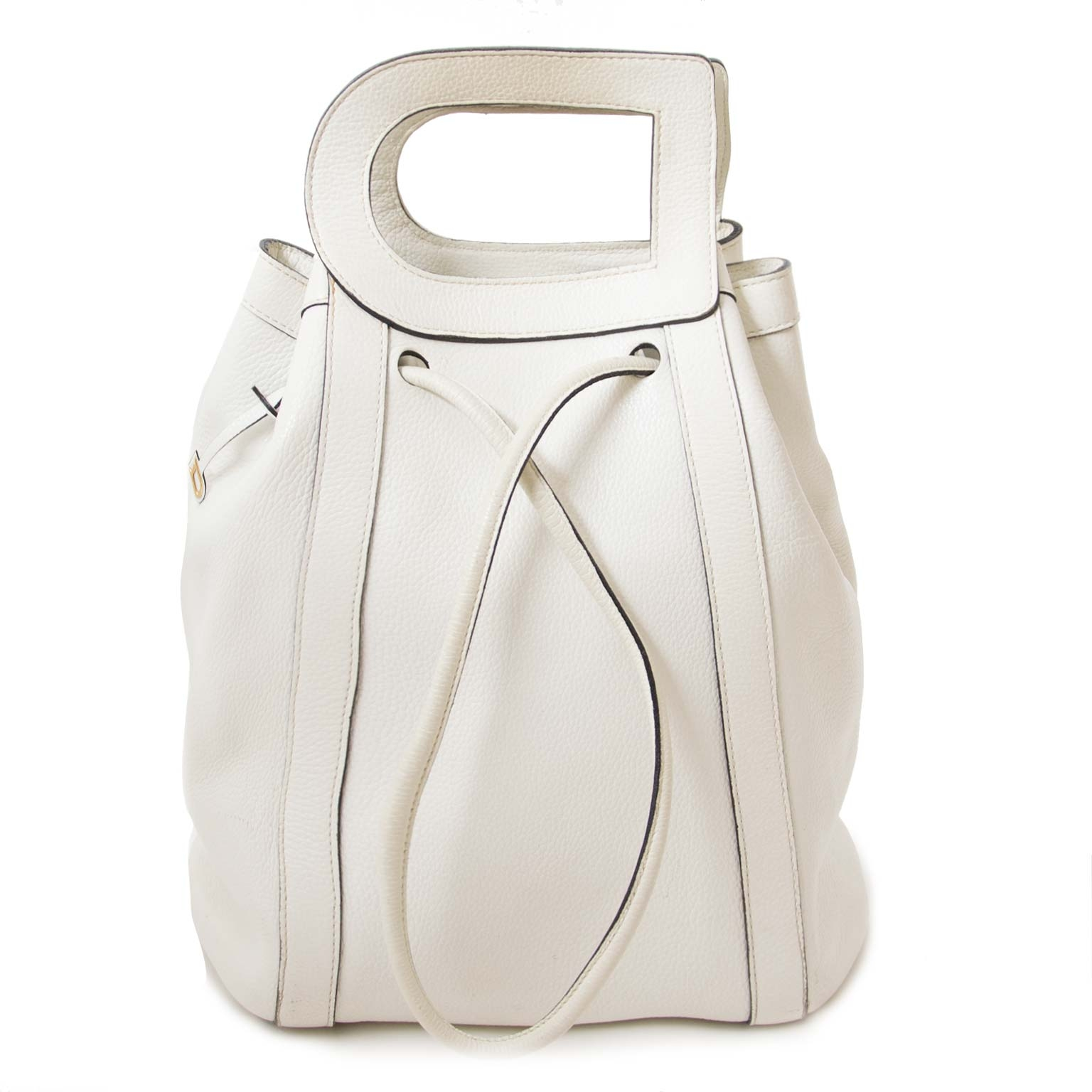 authentieke  Delvaux White Shoulderbag With 'D' Tophandle te koop bij labellov
