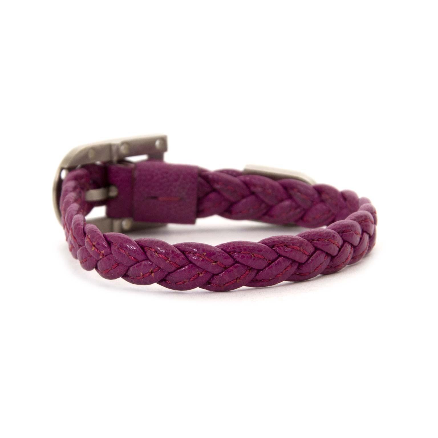 delvaux purple braided leather bracelet now for sale at labellov vintage fashion webshop belgium