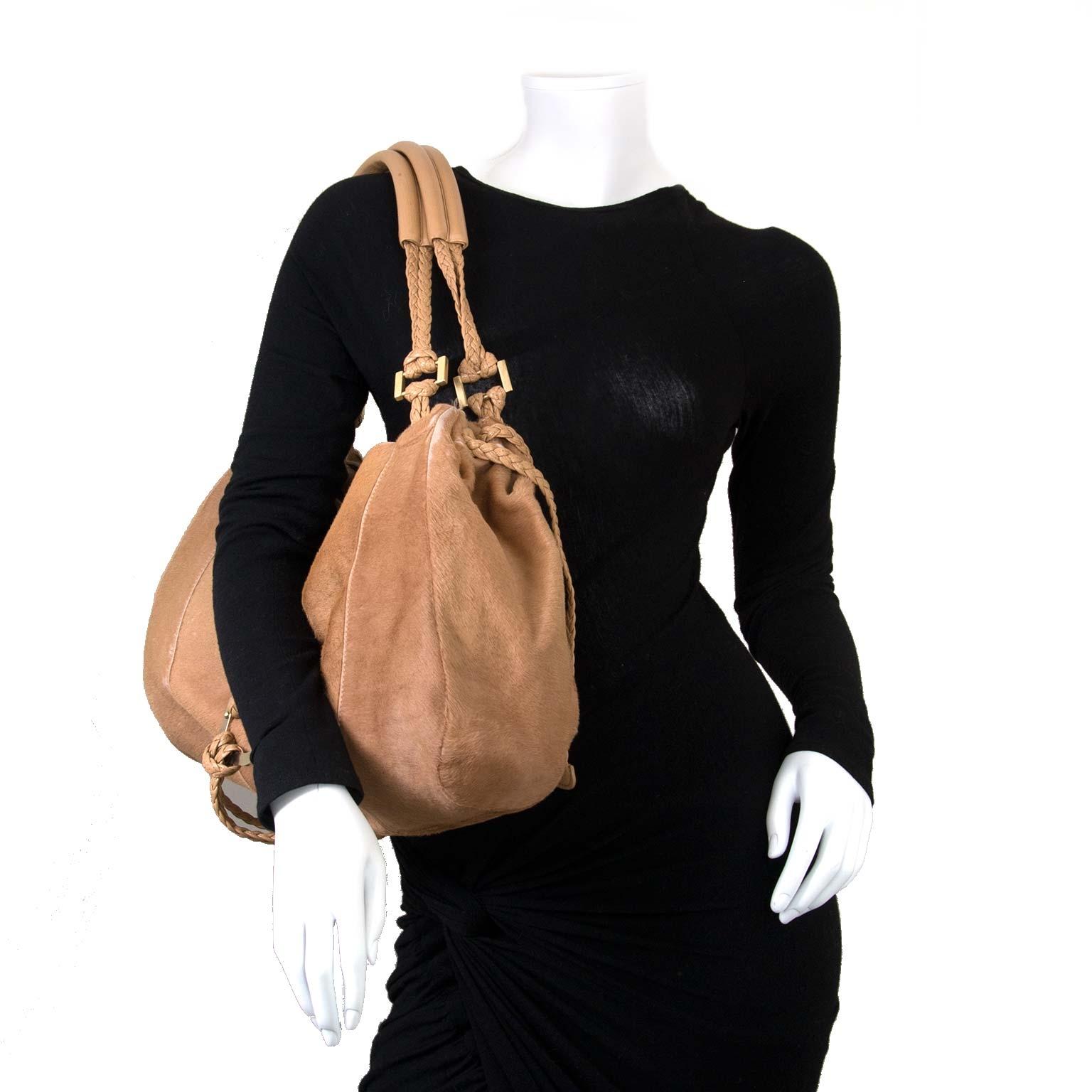 Delvaux Beige Ponyhair Colette GM Bag now for sale at labellov vintage fashion webshop belgium