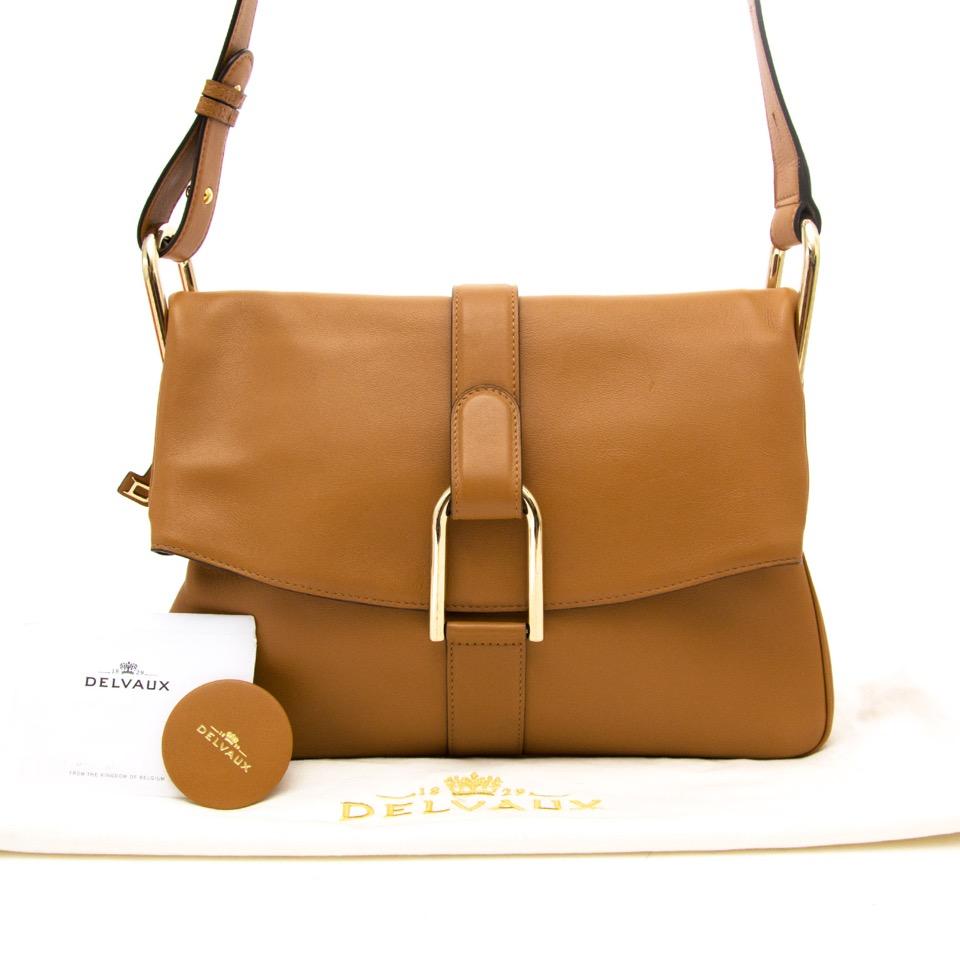 shop your luxury vintage and secondhand designer bag Delvaux Cognac Givry Shoulder Bag worldwide shipping
