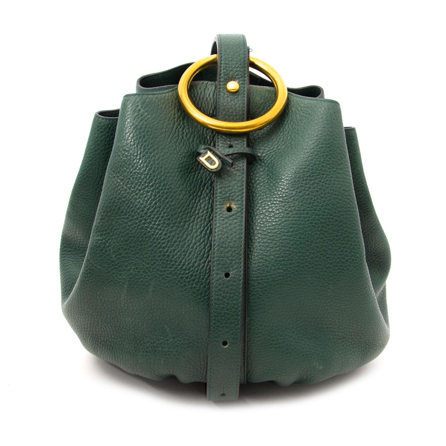 Delvaux Rose Des Vents Shoulder Gathered Bucket Bag Green à vendre en ligne www.labellov.com, seconde main en luxe vintage.