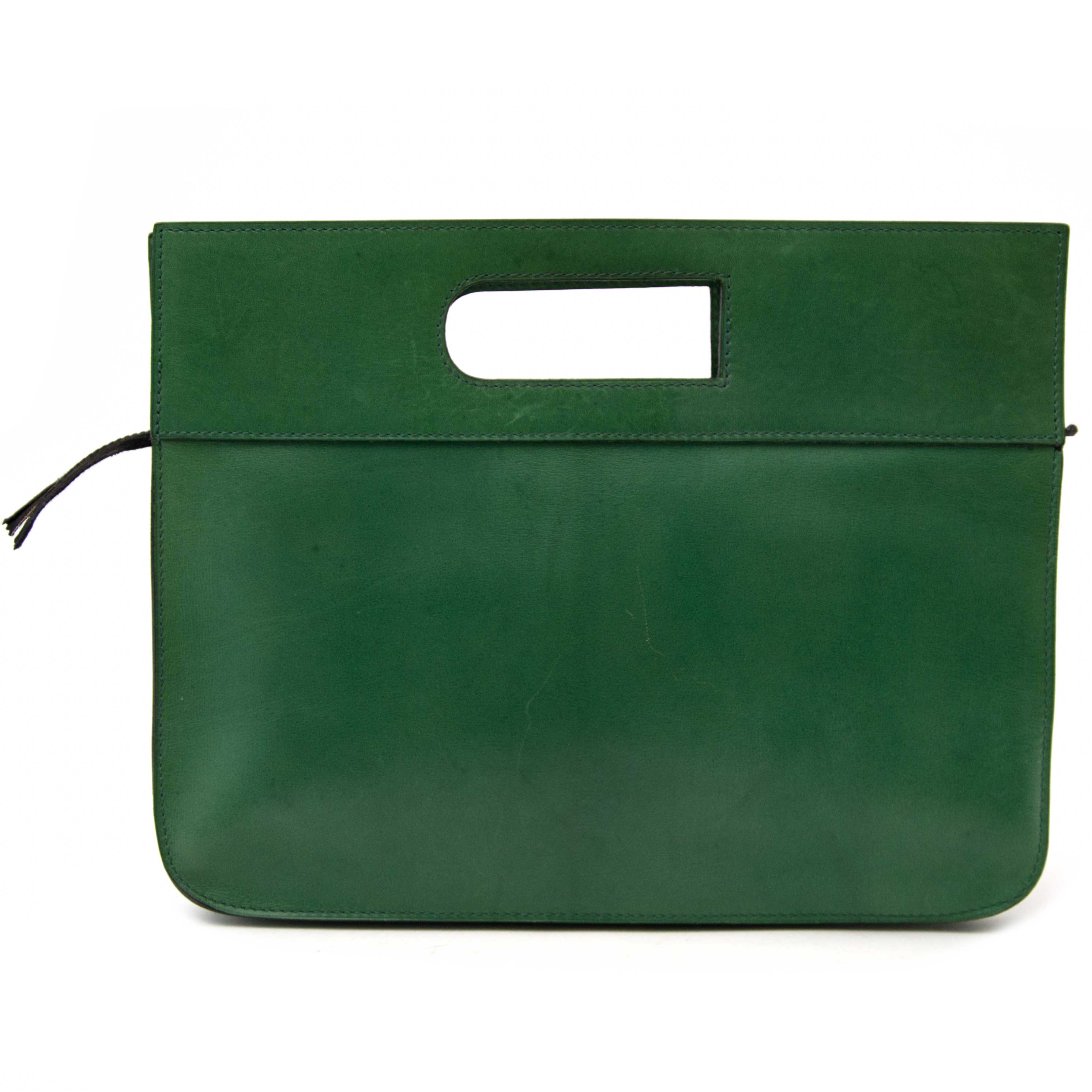 Buy and sell your authentic Delvaux Green Leather D Clutch and designer accessories