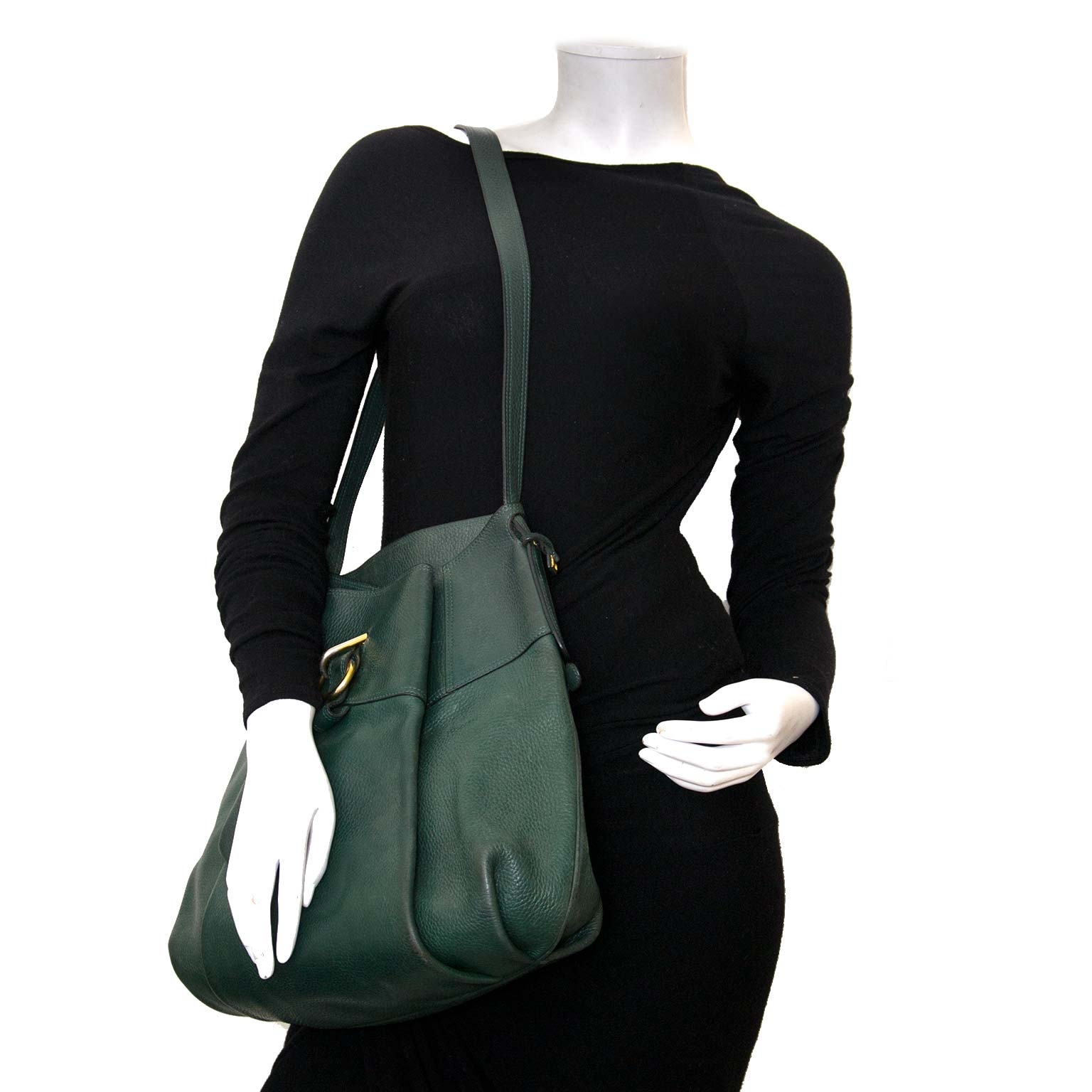 delvaux green leather faust bag now for sale at labellov vintage fashion webshop belgium