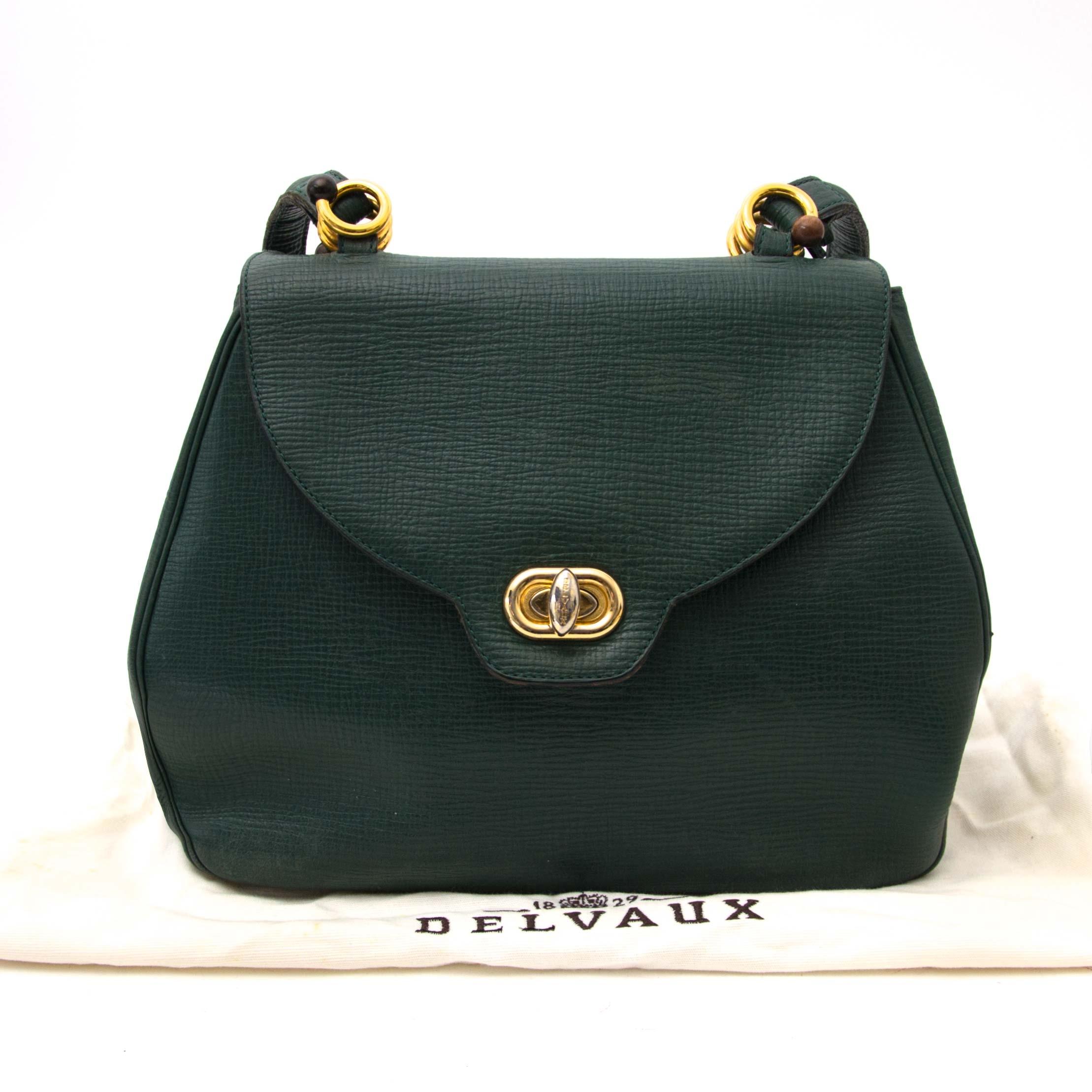 shop safe online your secondhand Delvaux Green Textured Leather Shoulder Bag
