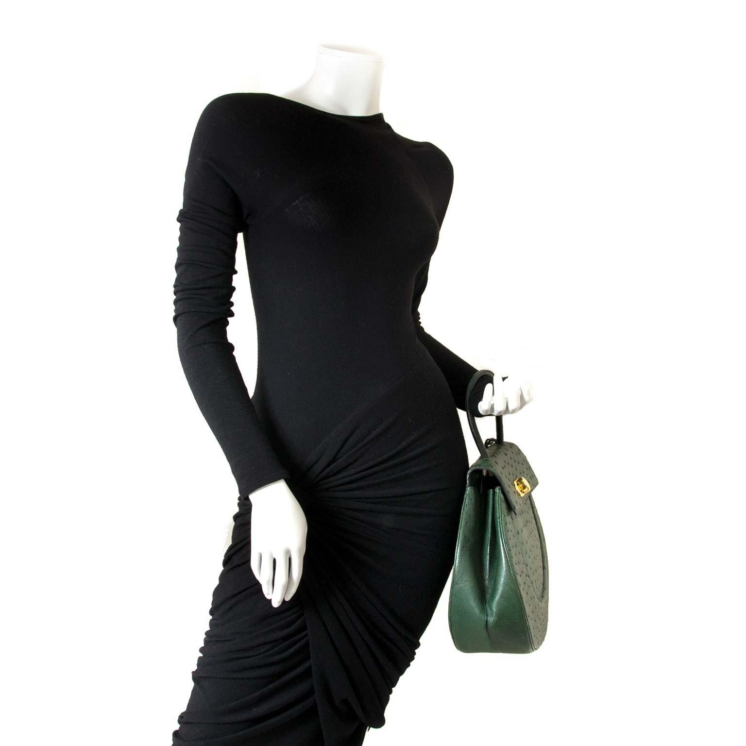 Delvaux Ostrich Green Extase Galop Bag now for sale at labellov vintage fashion webshop belgium