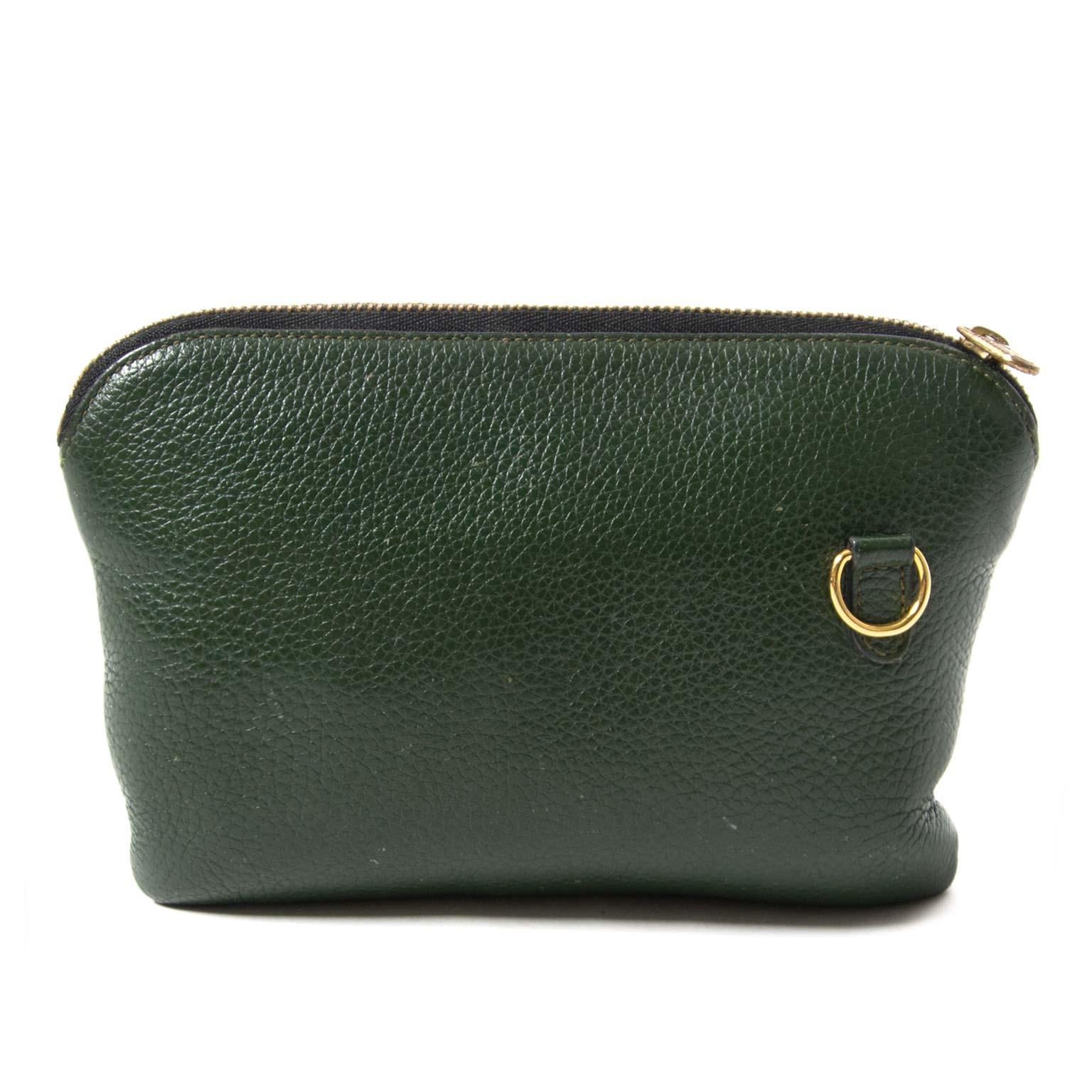 delvaux green pochette now for sale at labellov vintage fashion webshop belgium