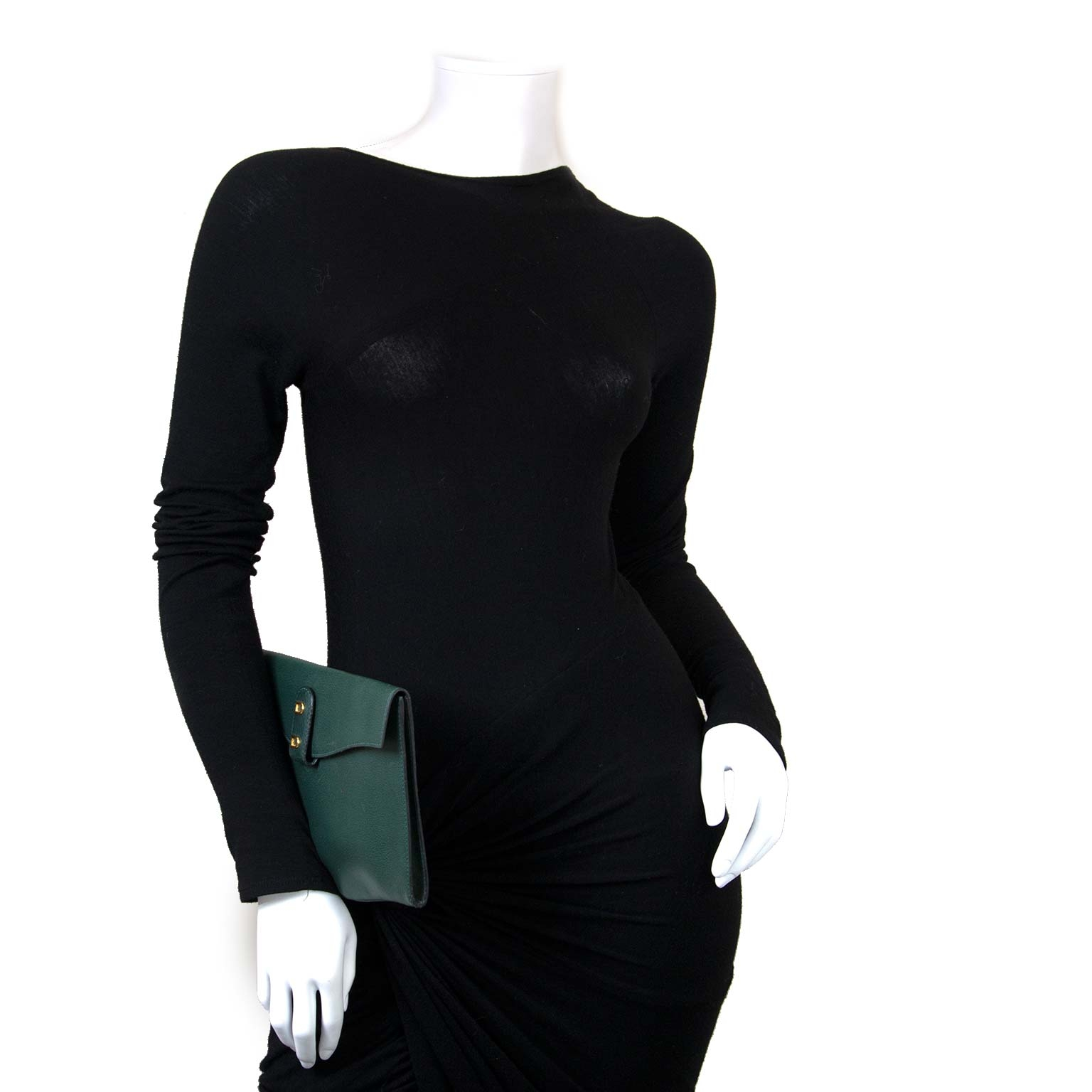 Delvaux Green Double D Clutch now for sale at labellov vintage fashion webshop belgium