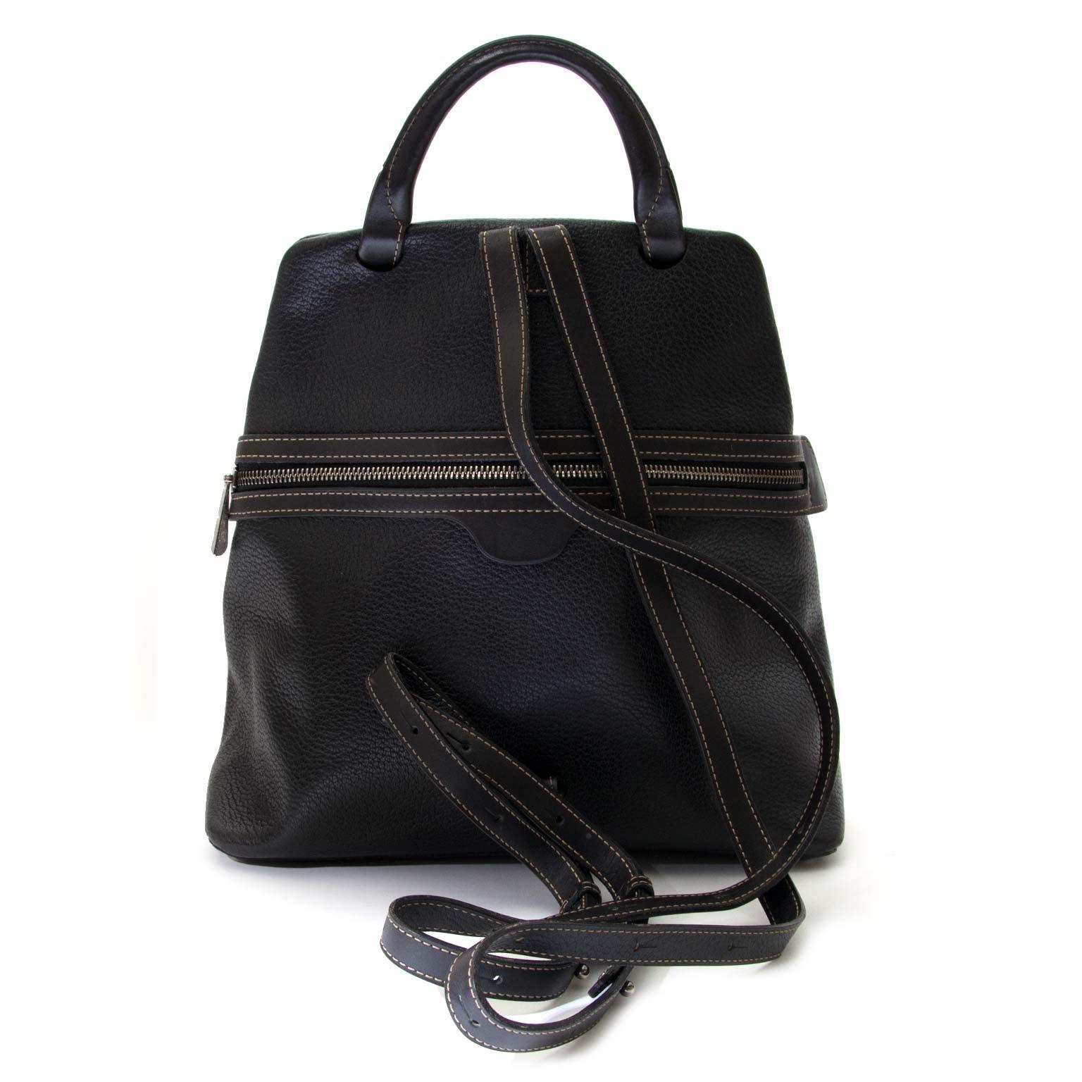 secondhand Deux De Delvaux Black Leather Backpack for sale at labellov