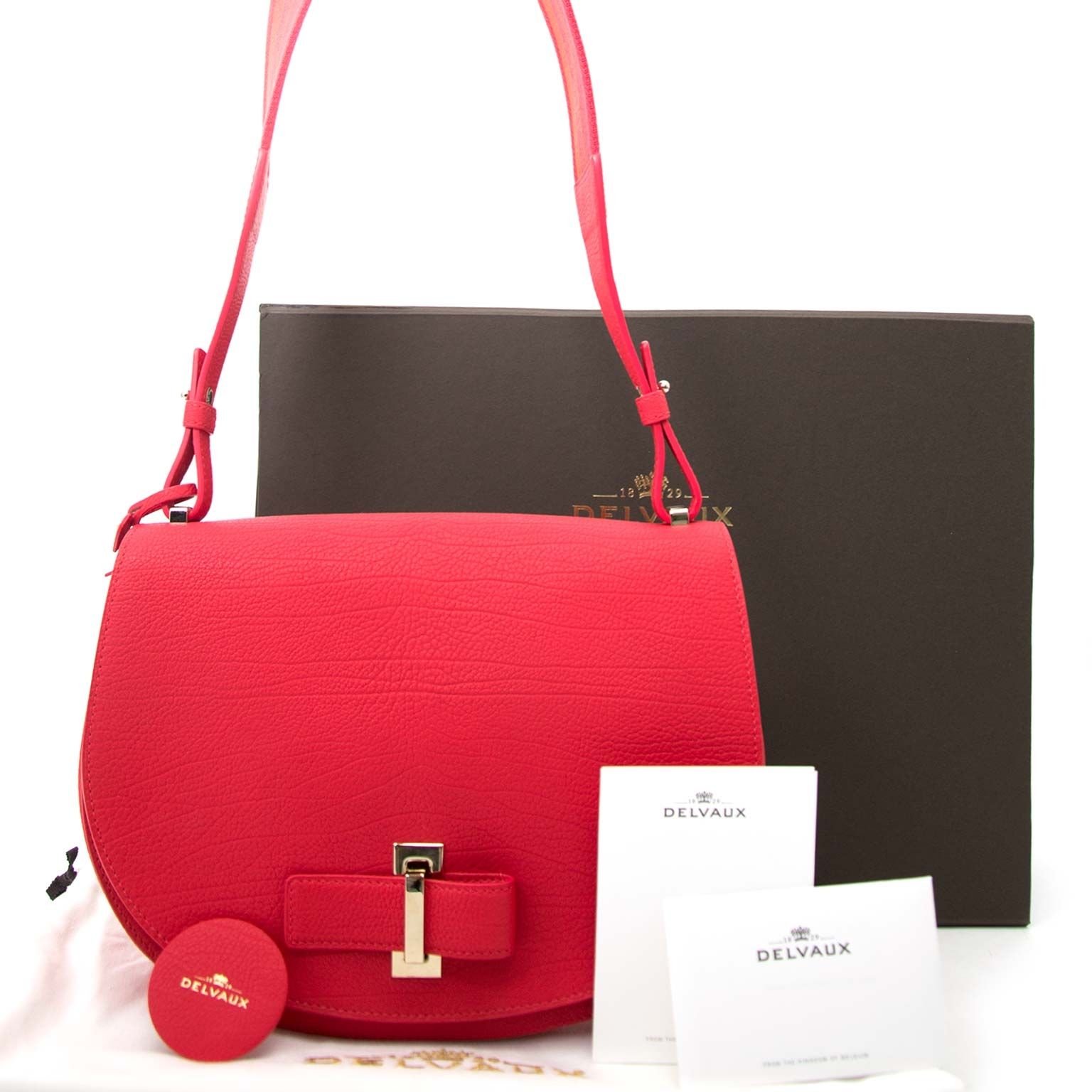 shop safe online secondhand Delvaux Mutin MM Crispy Calf Corail