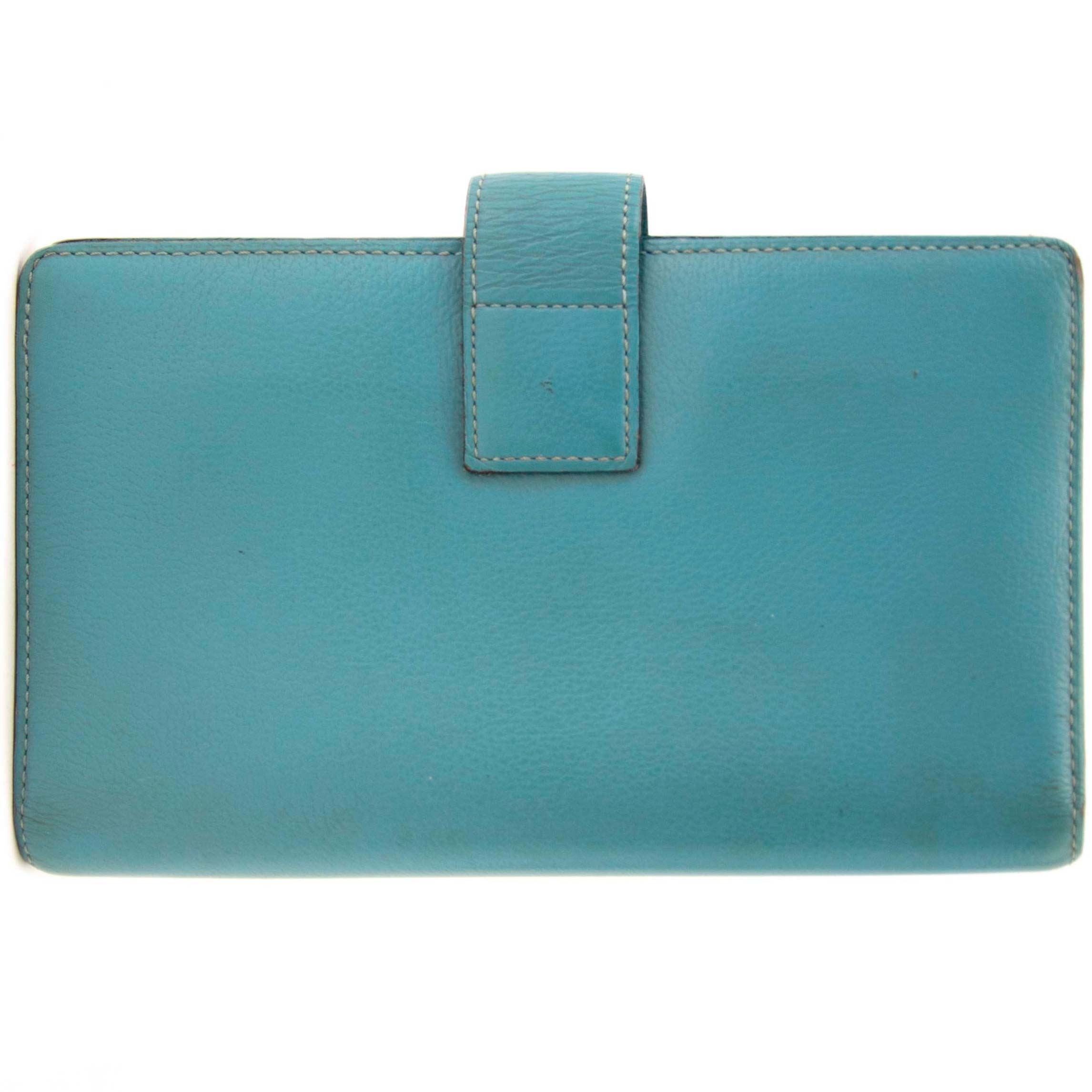 buy secondhand authentic delvaux light blue wallet at Labellov, online vintage webshop. Safe and secure shopping.