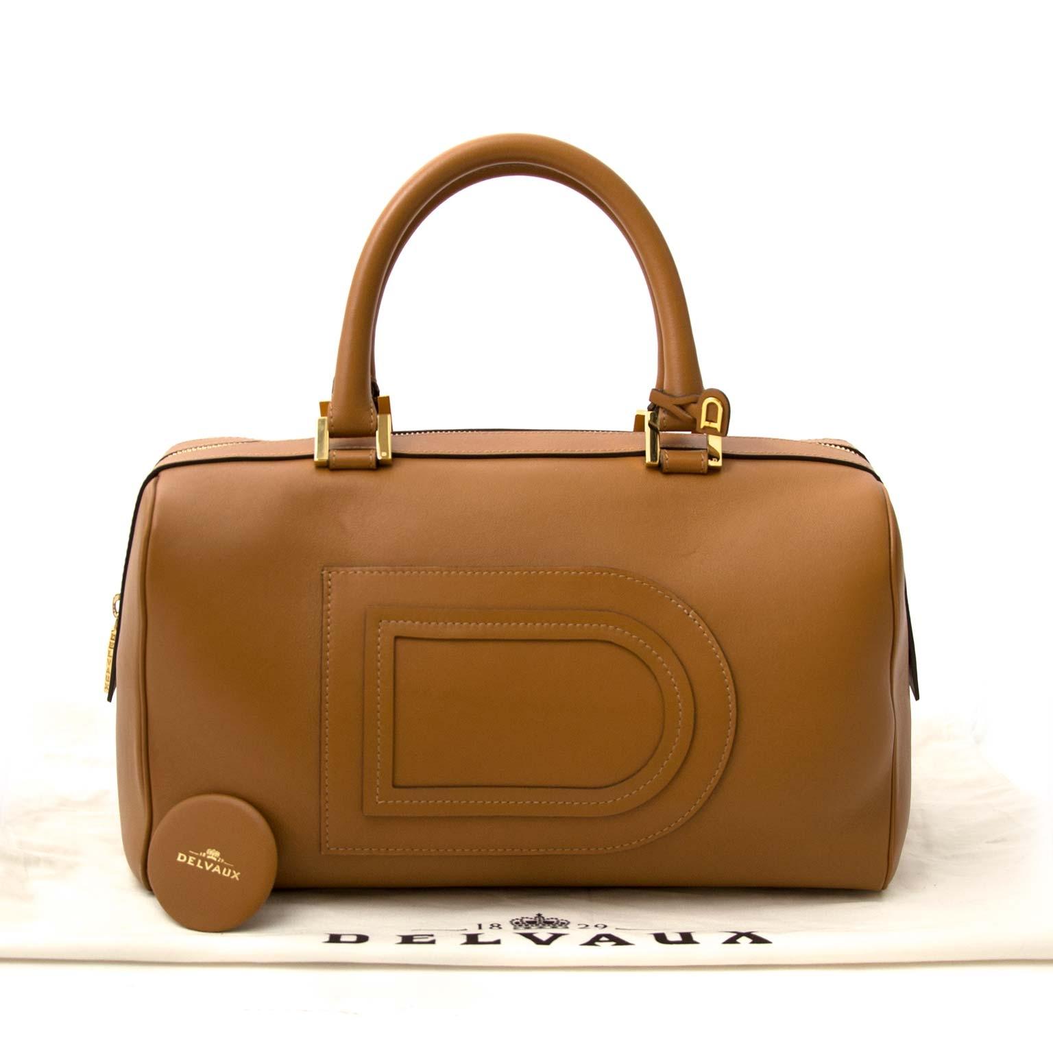 koop veilig online tegen de Delvaux Cognac Louise Boston Bag
