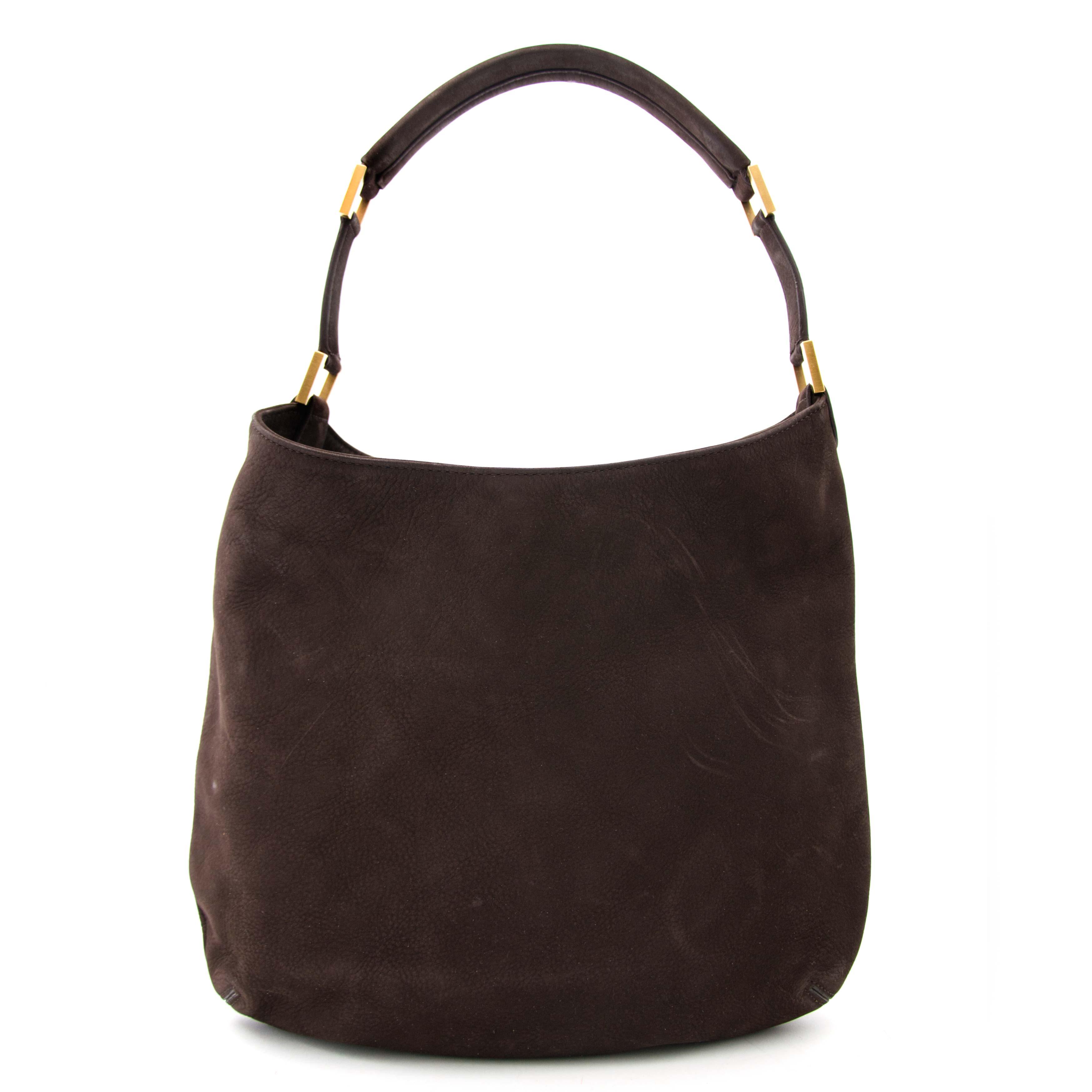 koop online aan de beste prijs jou tweedehands Delvaux Le Louise Café Nubuck Shoulder Bag