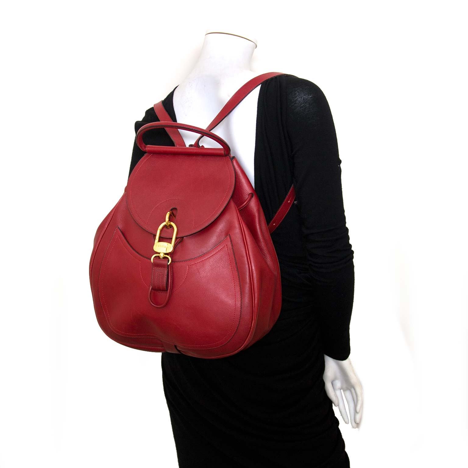 Buy and sell your authentic Delvaux Red Lucifer Backpack GM?