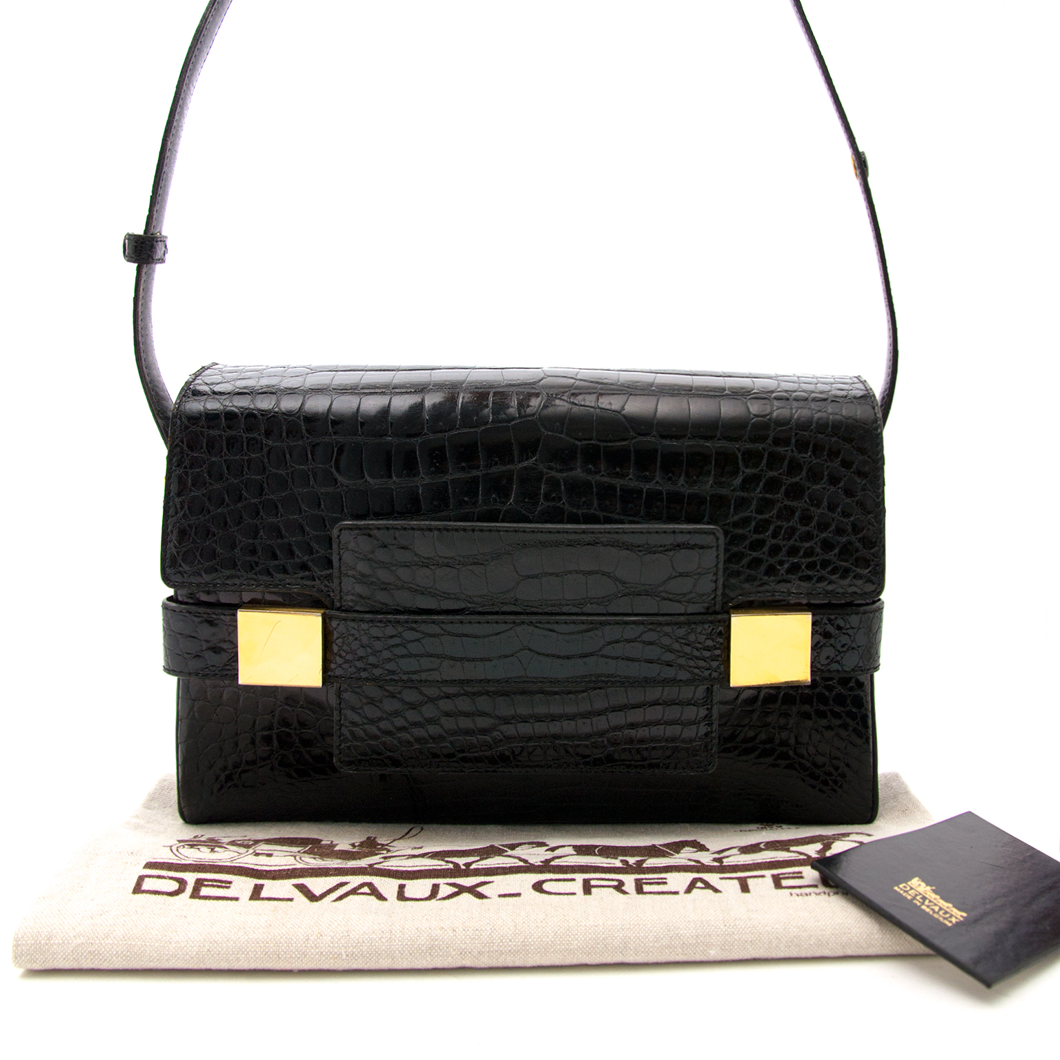 Delvaux le madame black croco leather bag for the best price at labellov.com