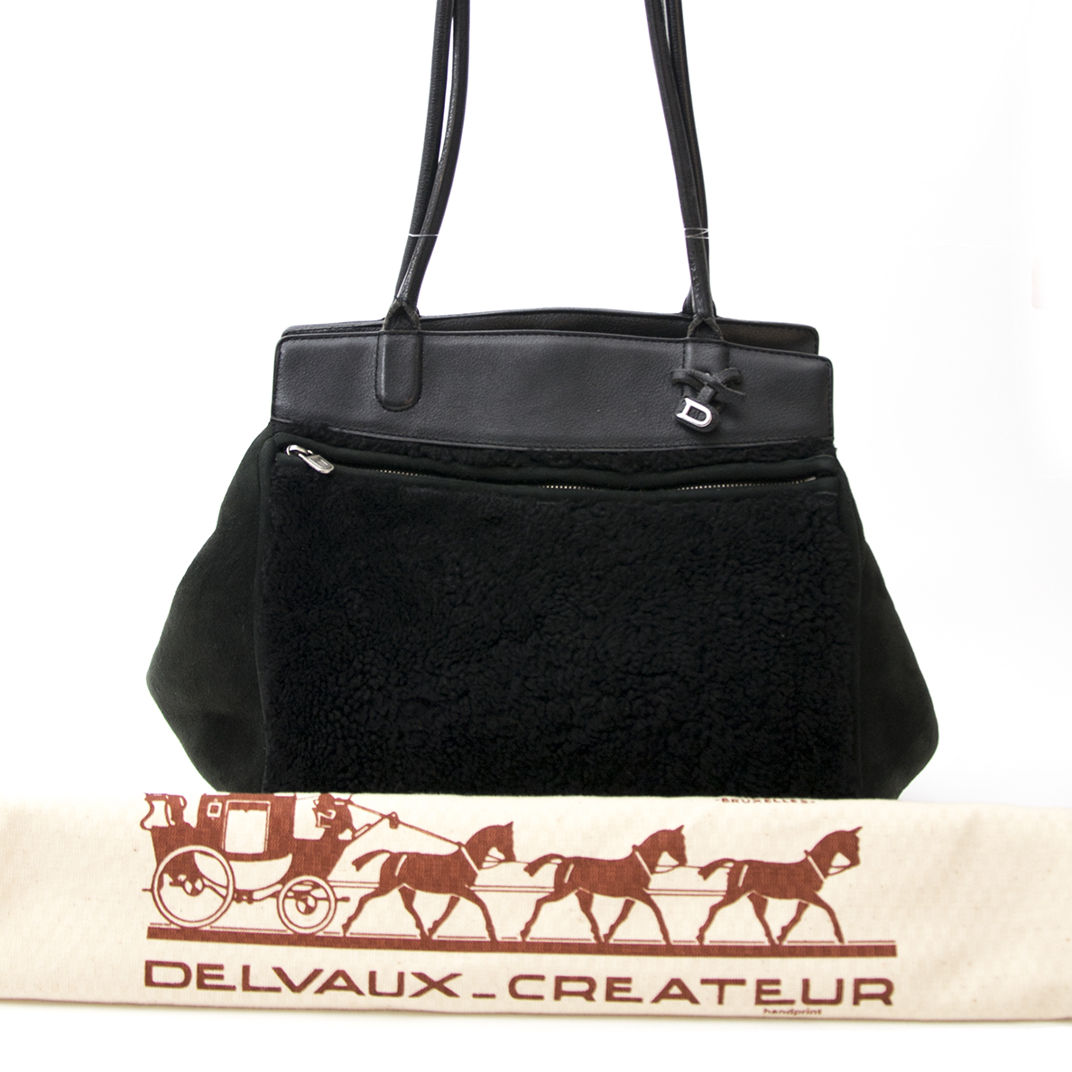 Delvaux Black Mouton Tournée Shoulder Bag