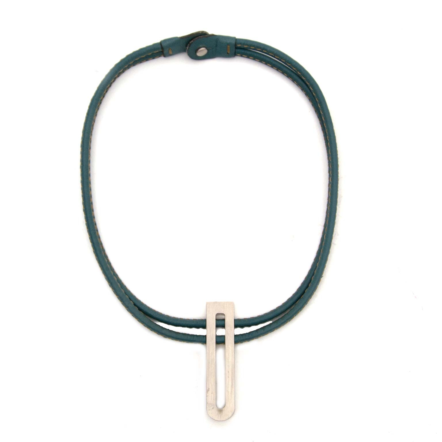 buy secondhand authentic Delvaux Turquoise D Leather Necklace for less at Labellov in Antwerp