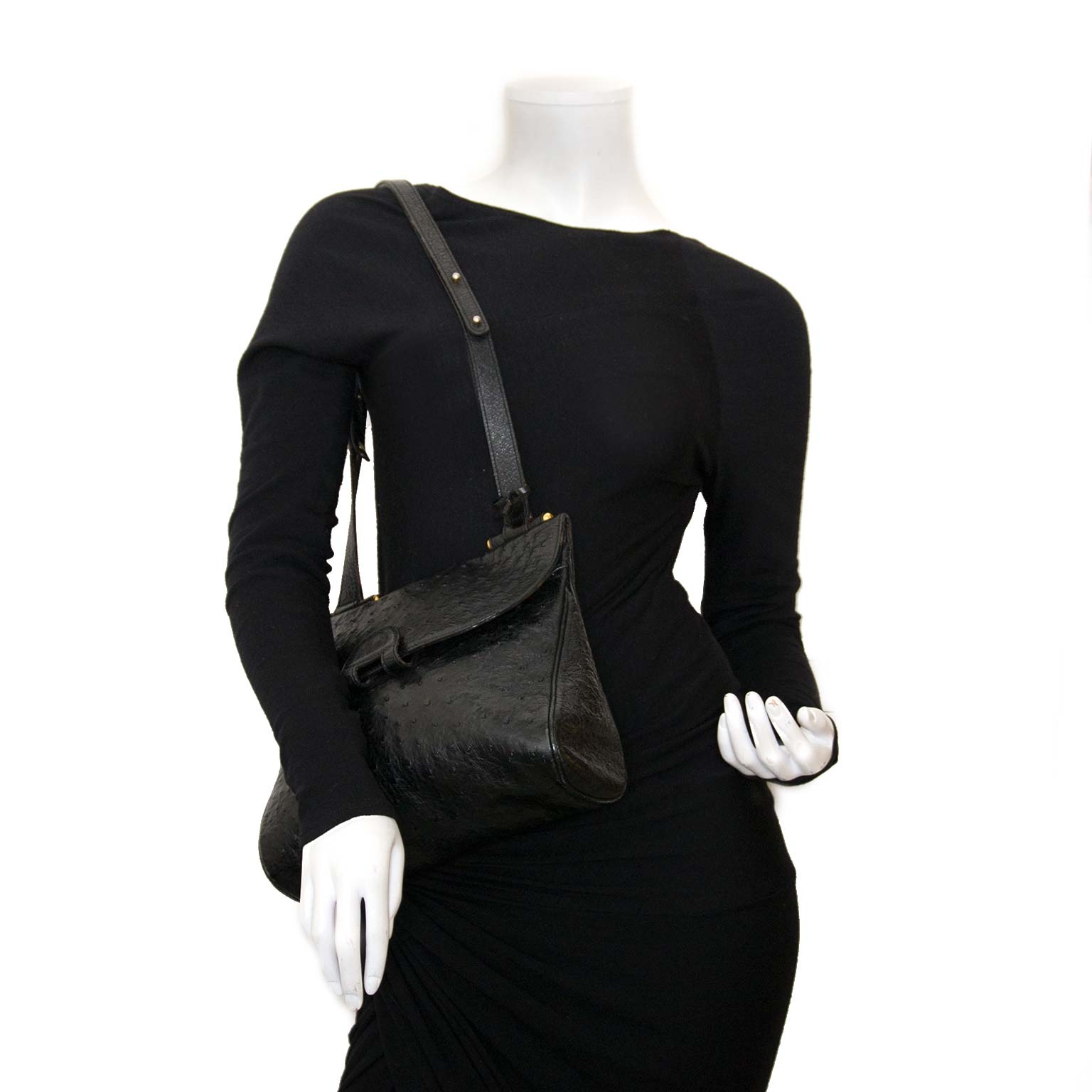 delvaux black ostrich chablis shoulder bag now for sale at labellov vintage fashion webshop belgium