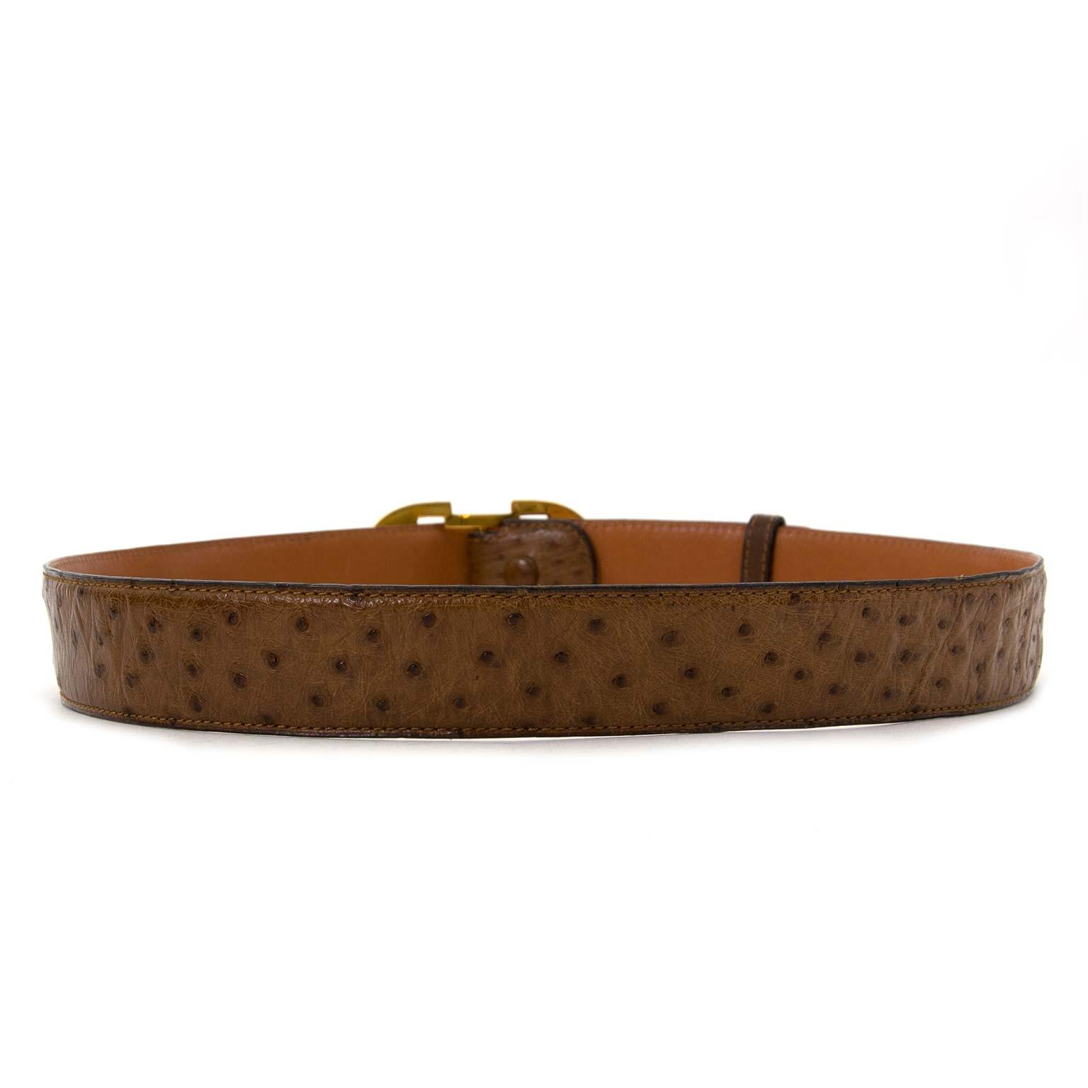 Koop en verkoop uw authentieke Delvaux Brown Ostrich Double D Belt
