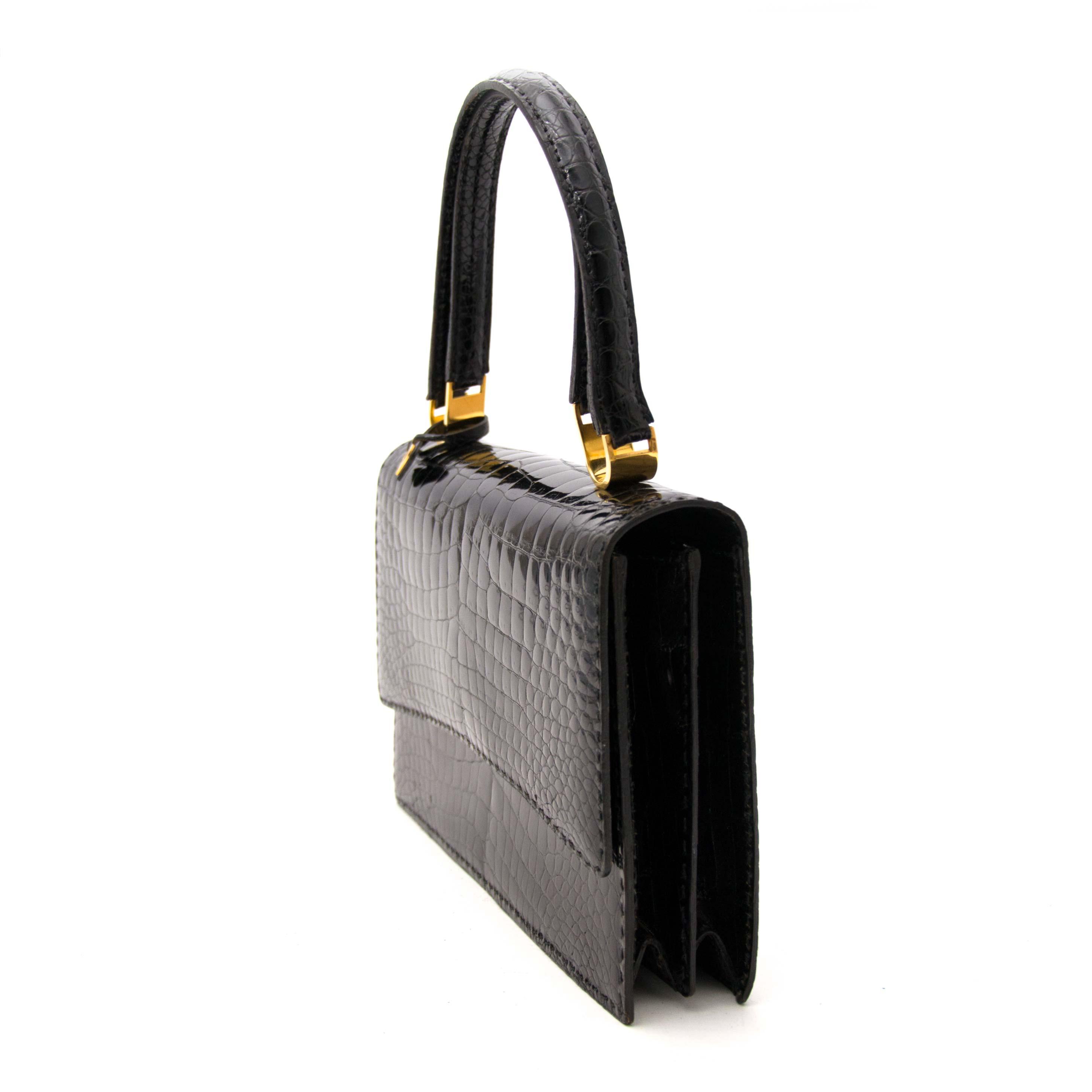 acheter en ligne neuf authentic sac a main Delvaux Black Pain Brule Bag